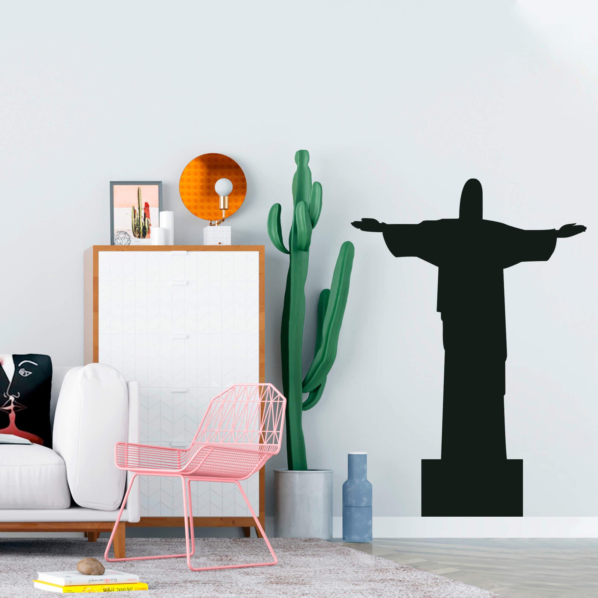 Adesivo de Parede Cristo Redentor Rio de Janeiro Preto
