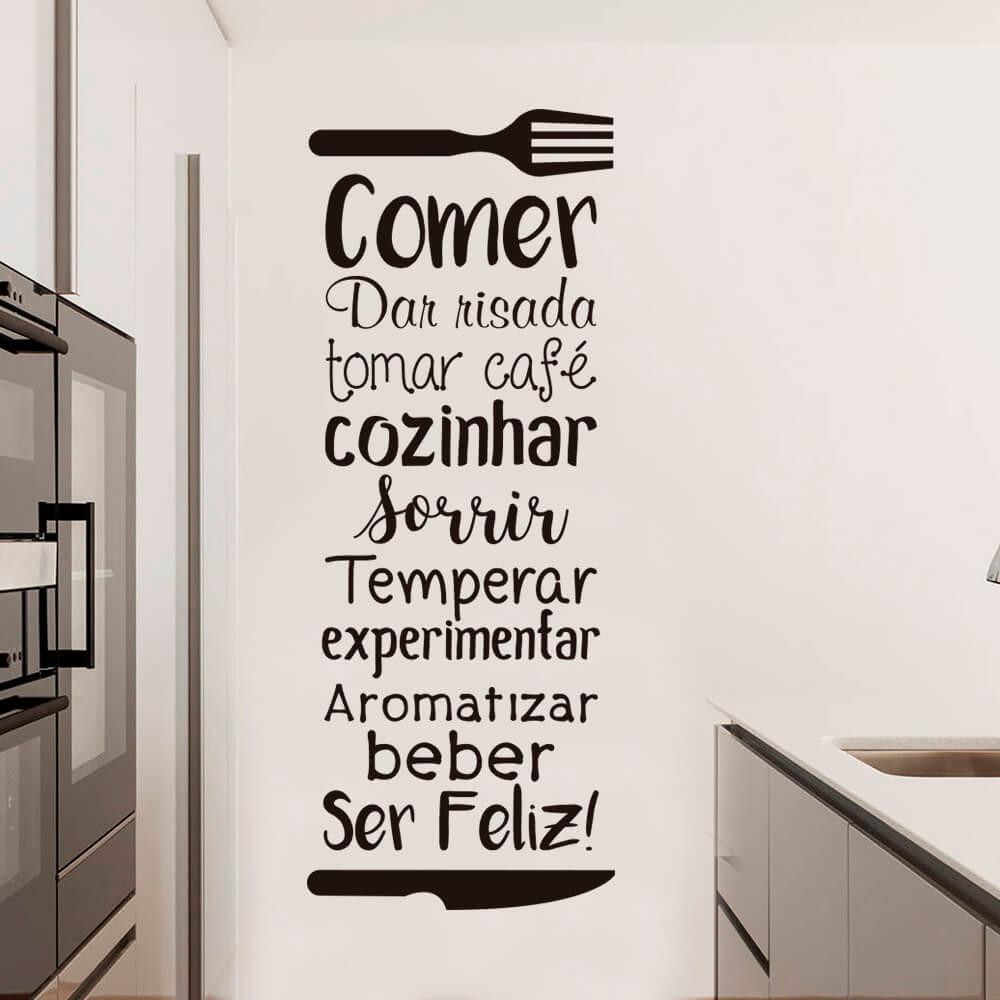 Adesivo de Parede Frase Decorativa Cozinha