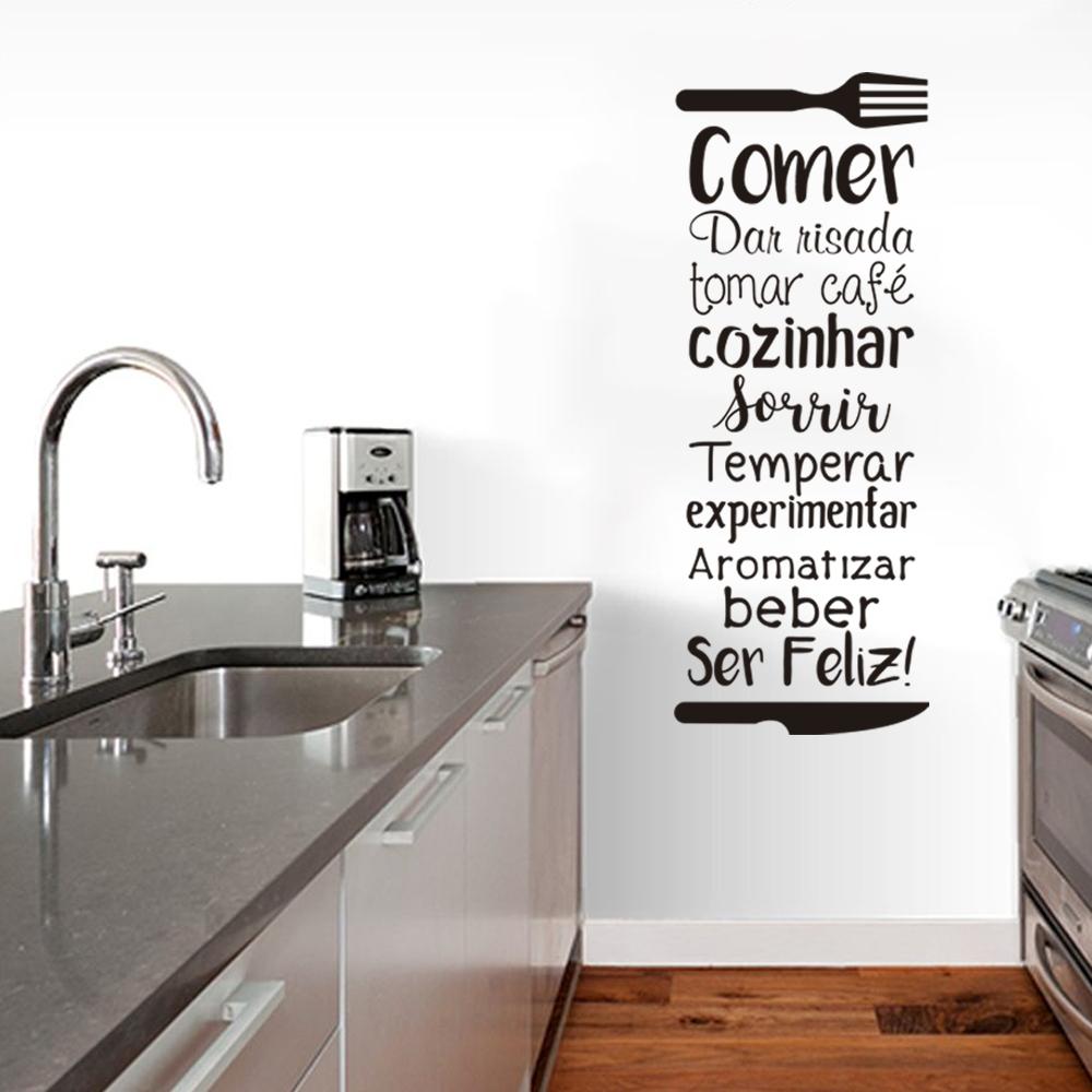 Adesivo de Parede Frase Decorativa Cozinha Comer Dar Risada Cozinhar Sorrir