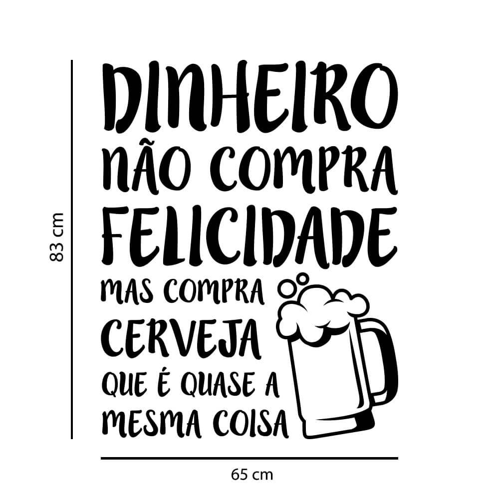Adesivo de Parede Frase Felicidade Cerveja