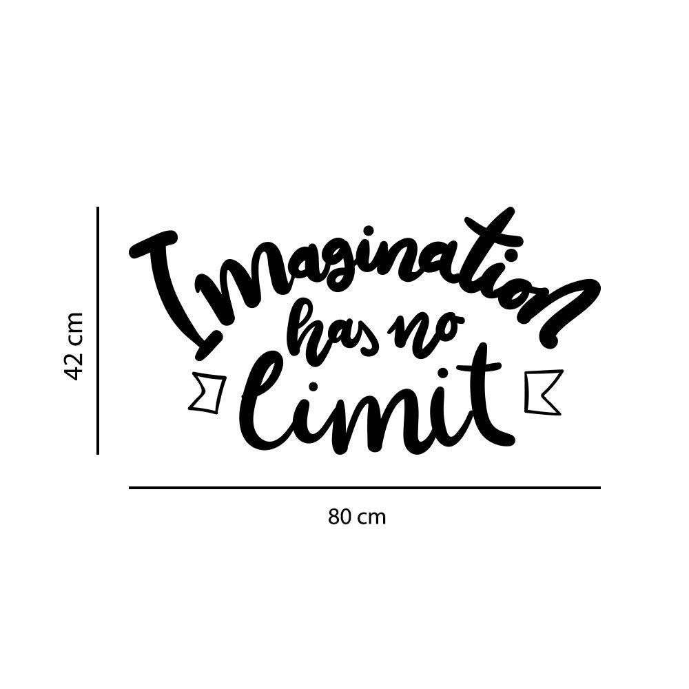 Adesivo de Parede Frase Imagination has no Limit Preto