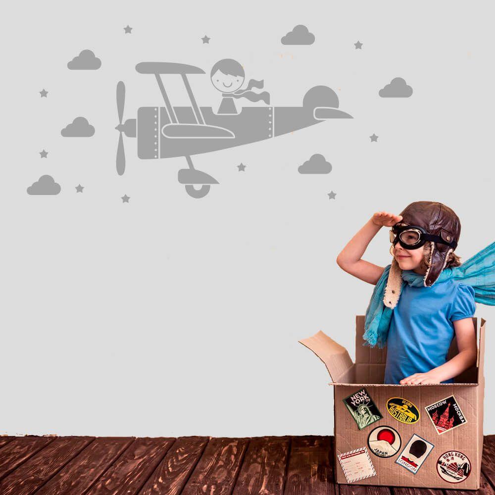 Adesivo de Parede Infantil Avião e Nuvens