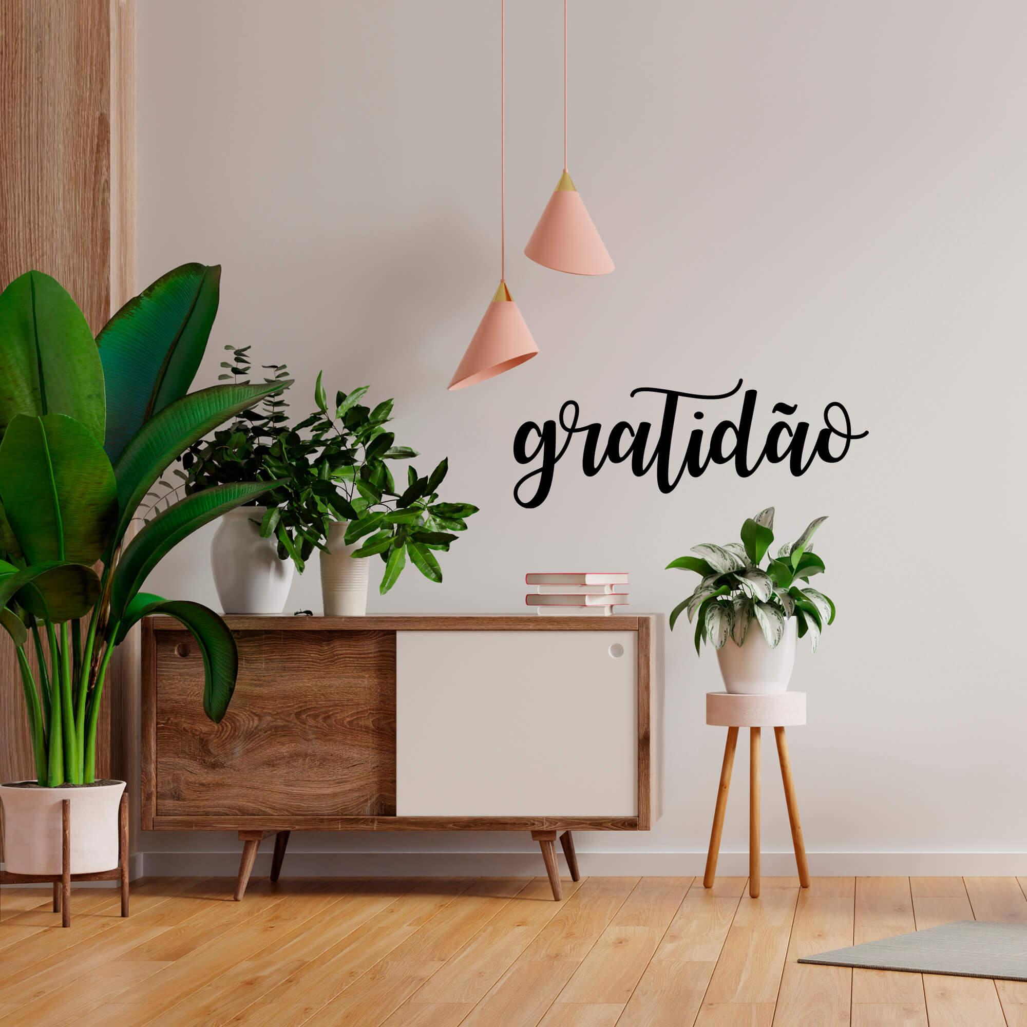Adesivo de Parede Lettering Gratidão Agradecer Decoração Fácil Sala Quarto