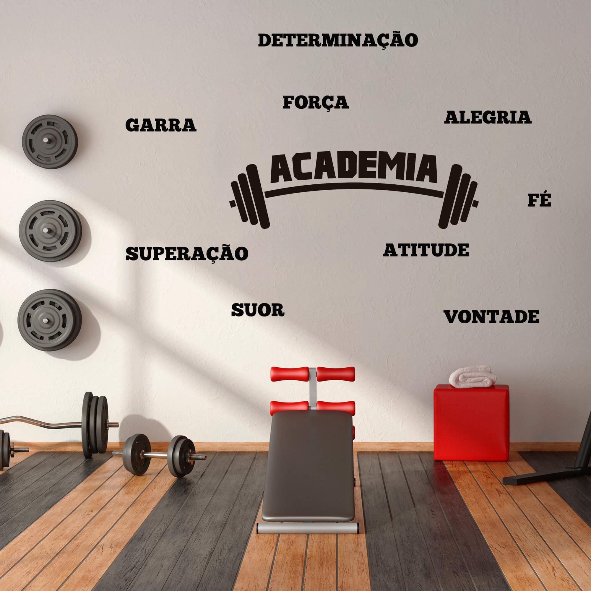 Adesivo de Parede Logo Academia Fitness Palavras Motivação Preto