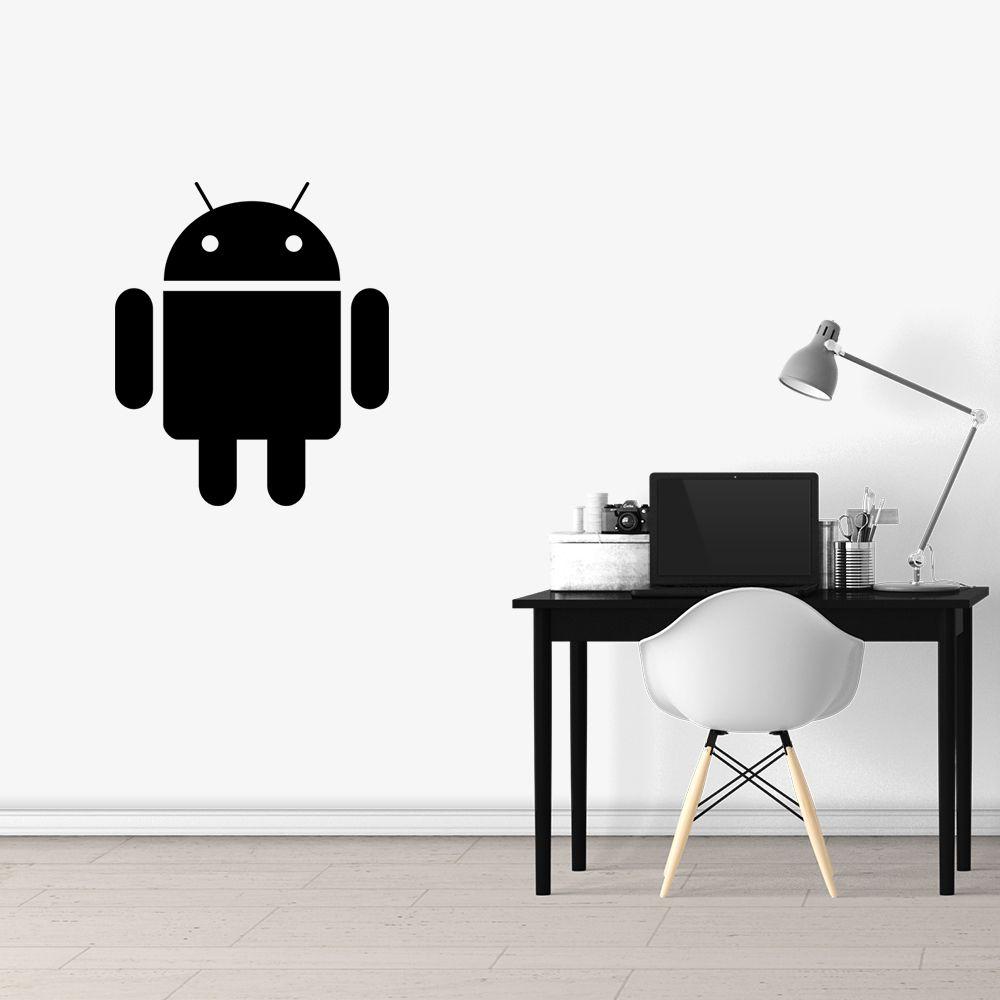Adesivo de Parede Logo Android Preto
