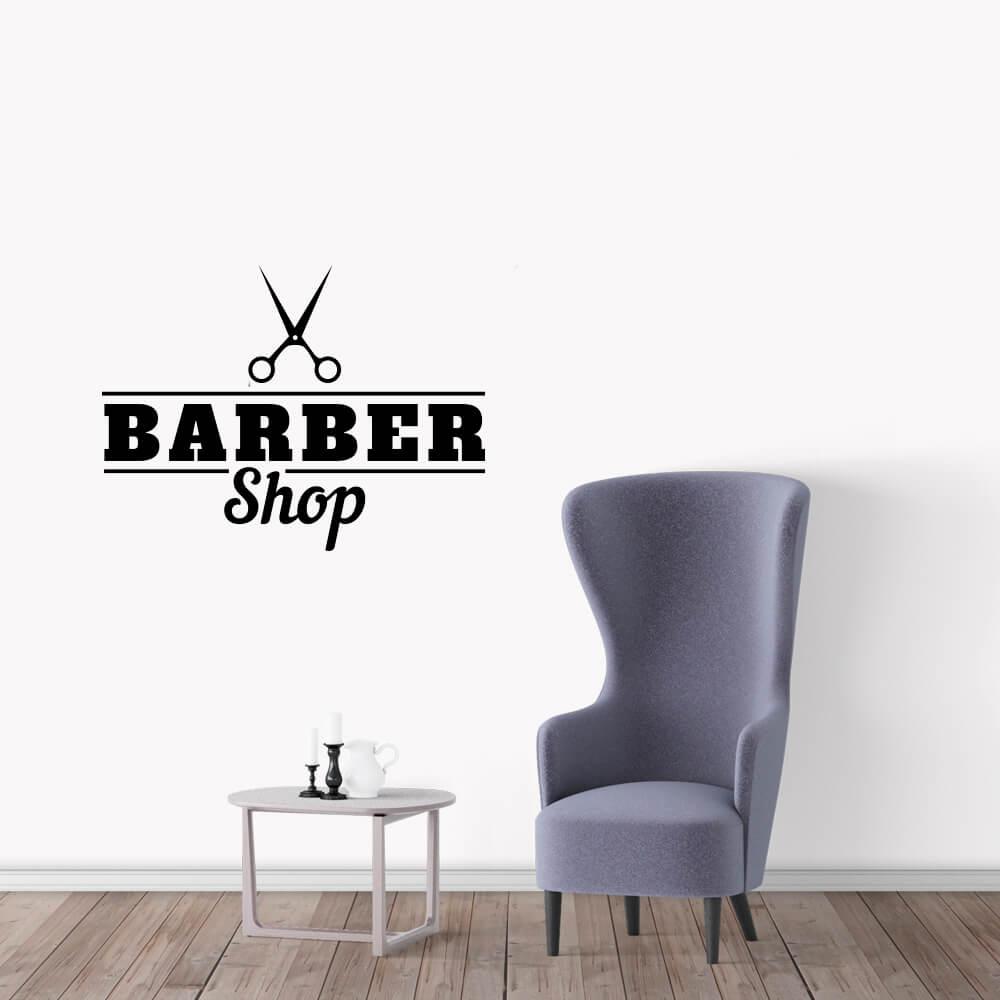 Adesivo de Parede Logo Barber Shop Barbearia Preto