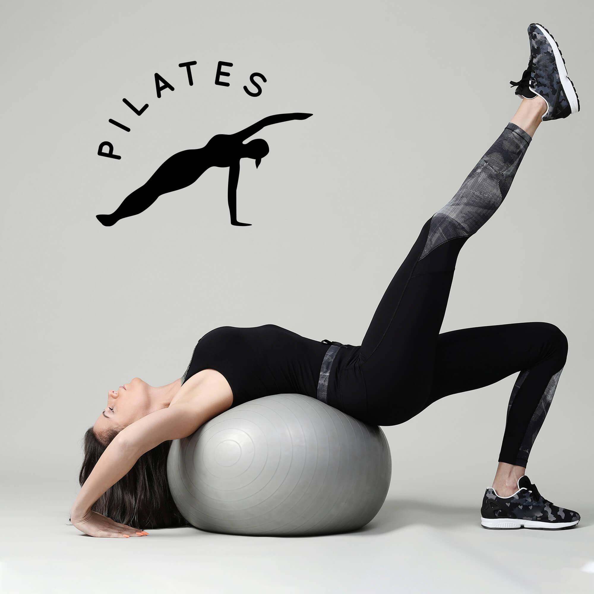 Adesivo de Parede Logo Estúdio Pilates Silhueta Preto