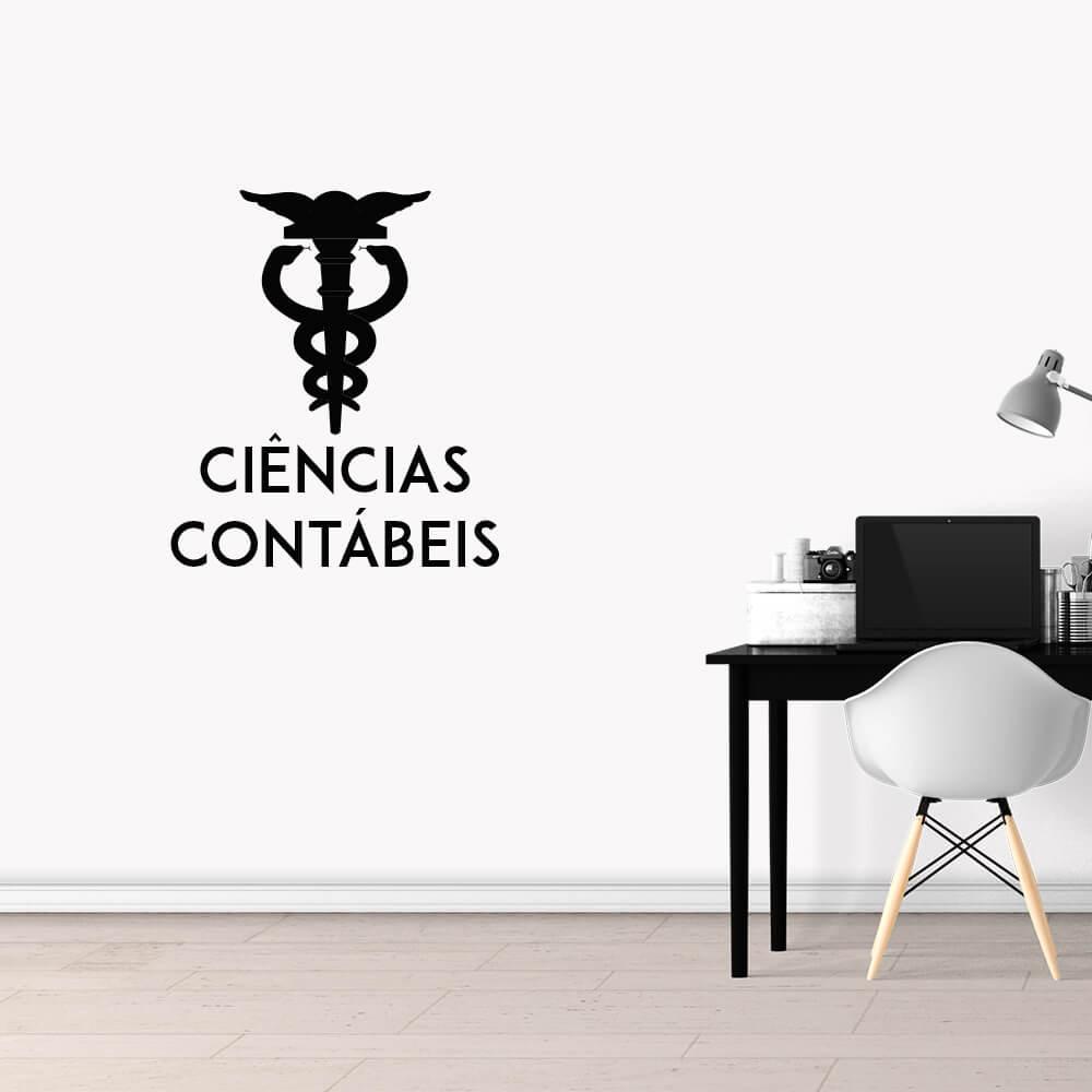 Adesivo de Parede Logo Profissão Ciências Contábeis Preto
