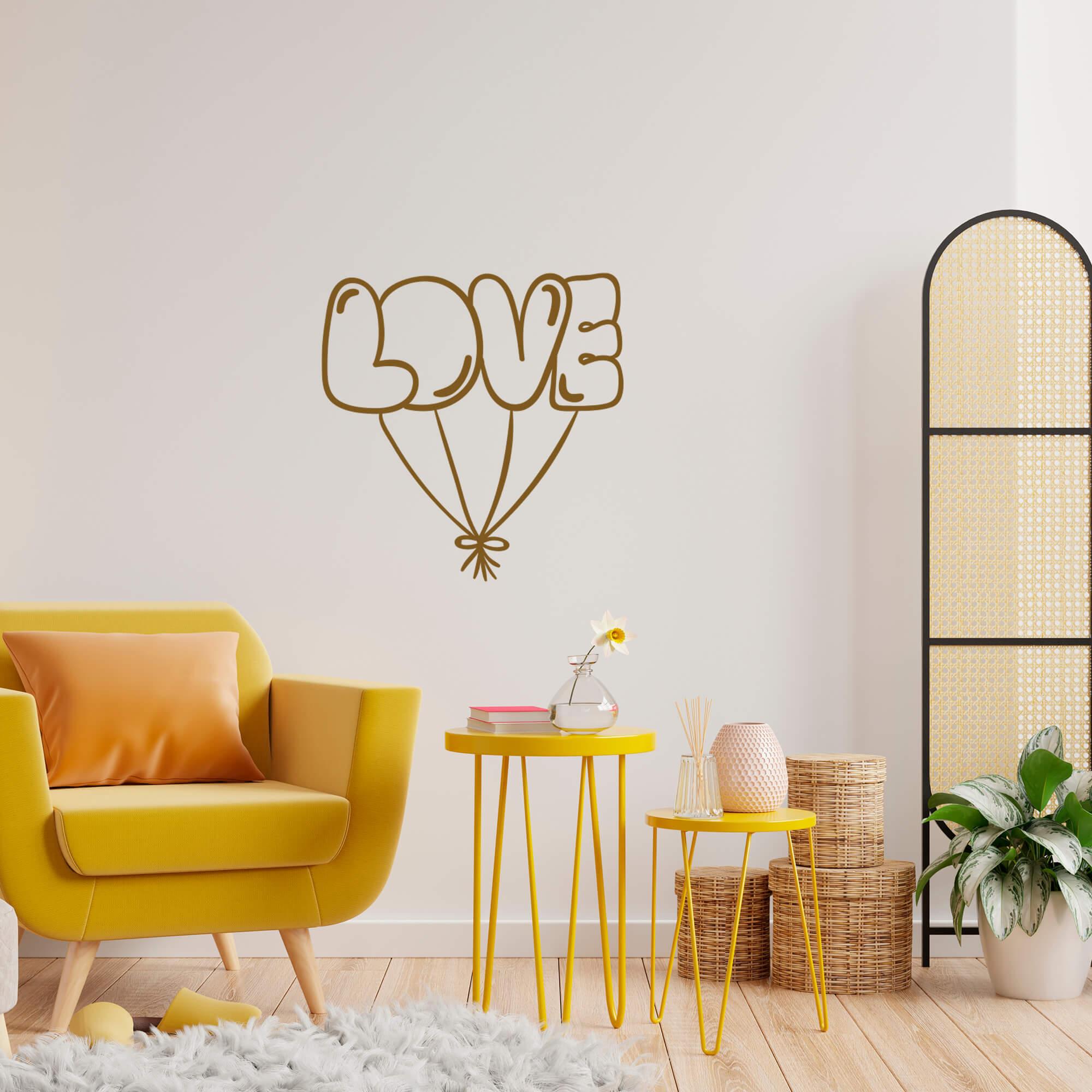 Adesivo de Parede Love Balões Decoração Fofa Quarto Sala