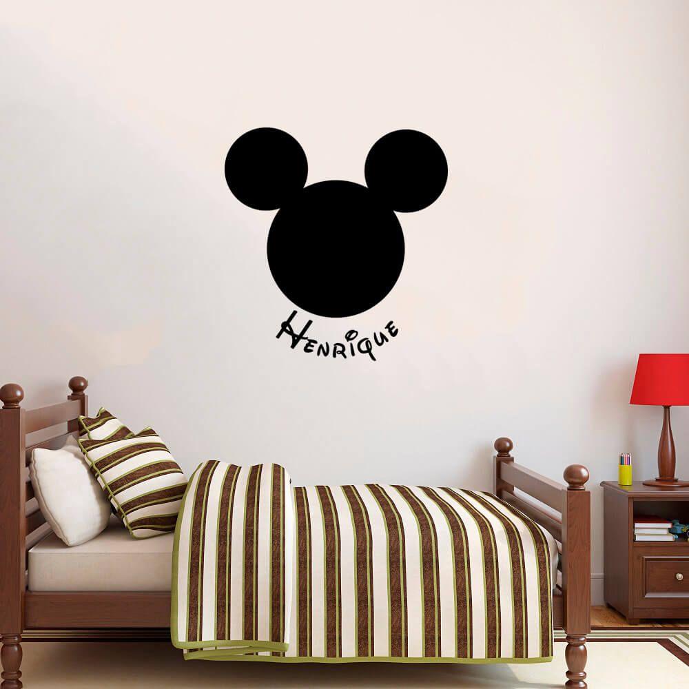 Adesivo de Parede Mickey Nome Personalizado