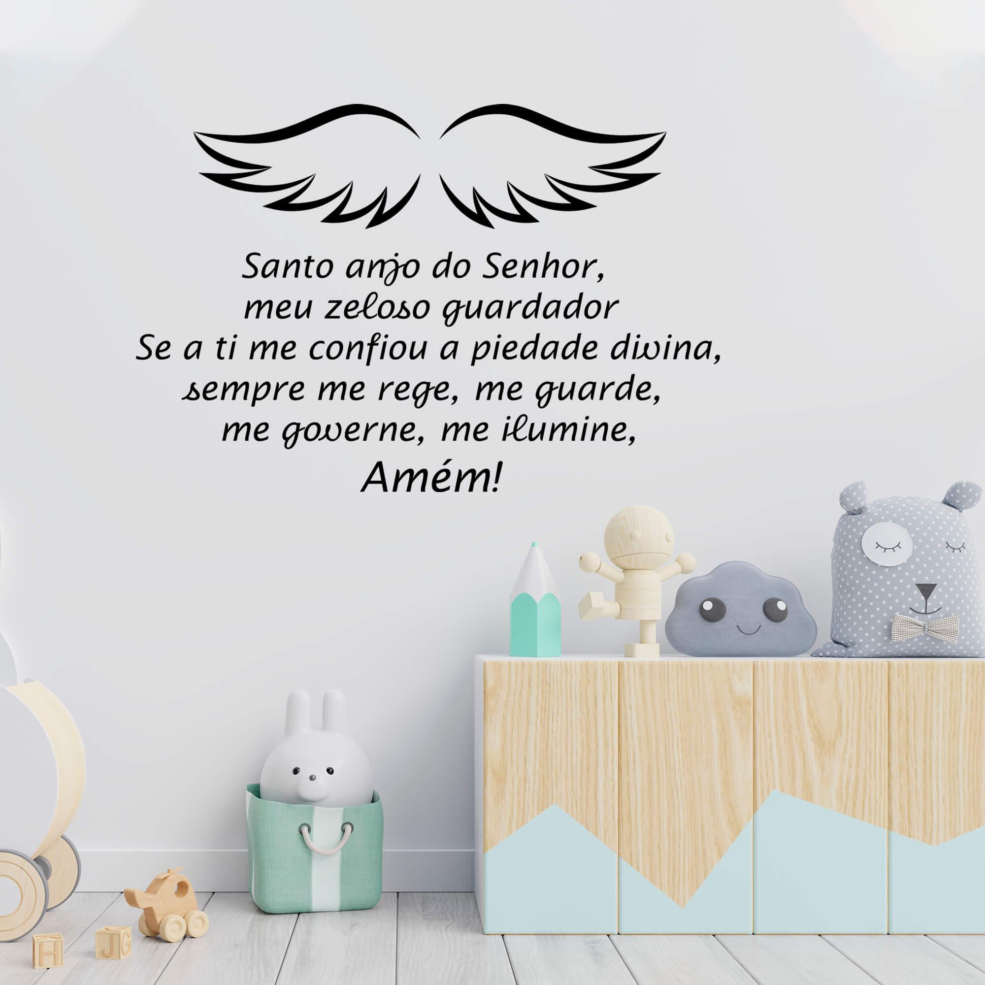 Adesivo de Parede Oração Santo Anjo Do Senhor Asas Decoração Infantil