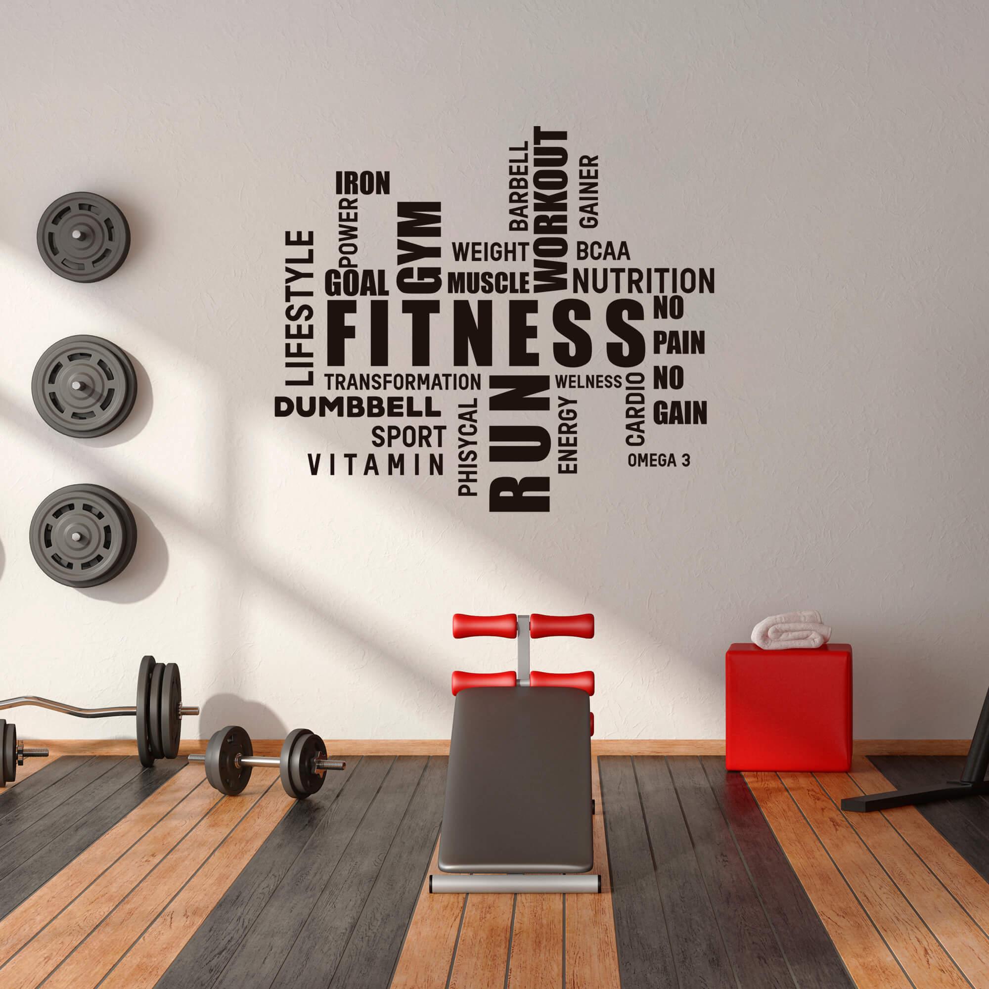Adesivo de Parede Palavras Motivação Academia Inglês Fitness Run Gym