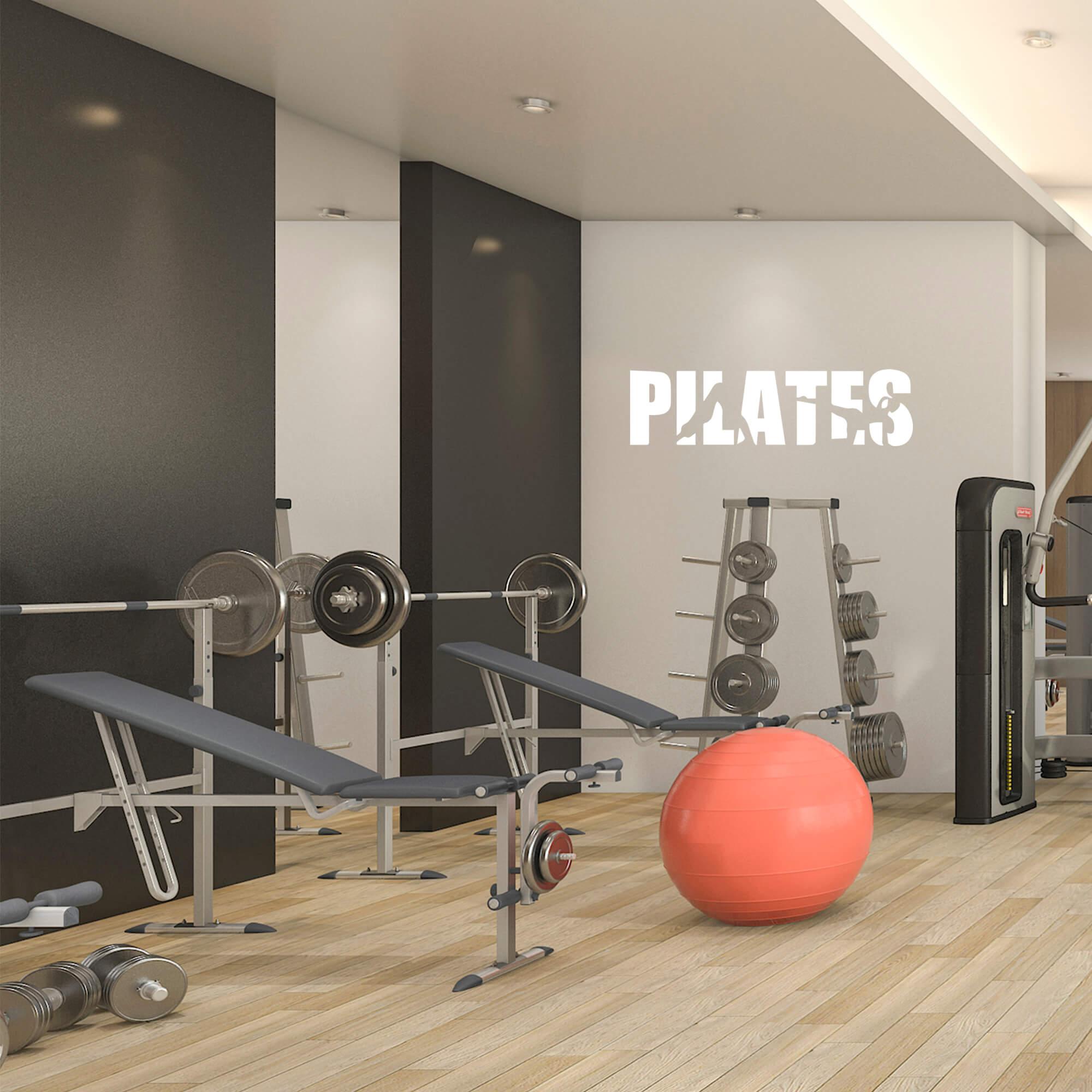 Adesivo de Parede Pilates Postura Silhuetas Fitness