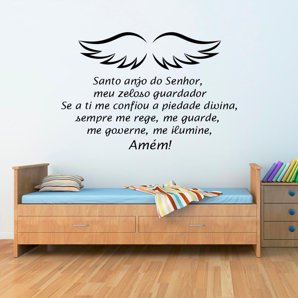 Adesivo de Parede Religioso Oração Santo Anjo Infantil