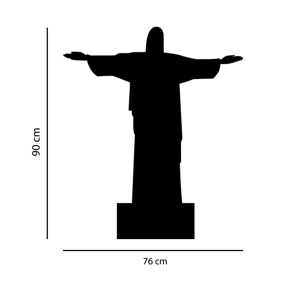 Adesivo de Parede Silhueta Cristo Redentor Rio de Janeiro Preto