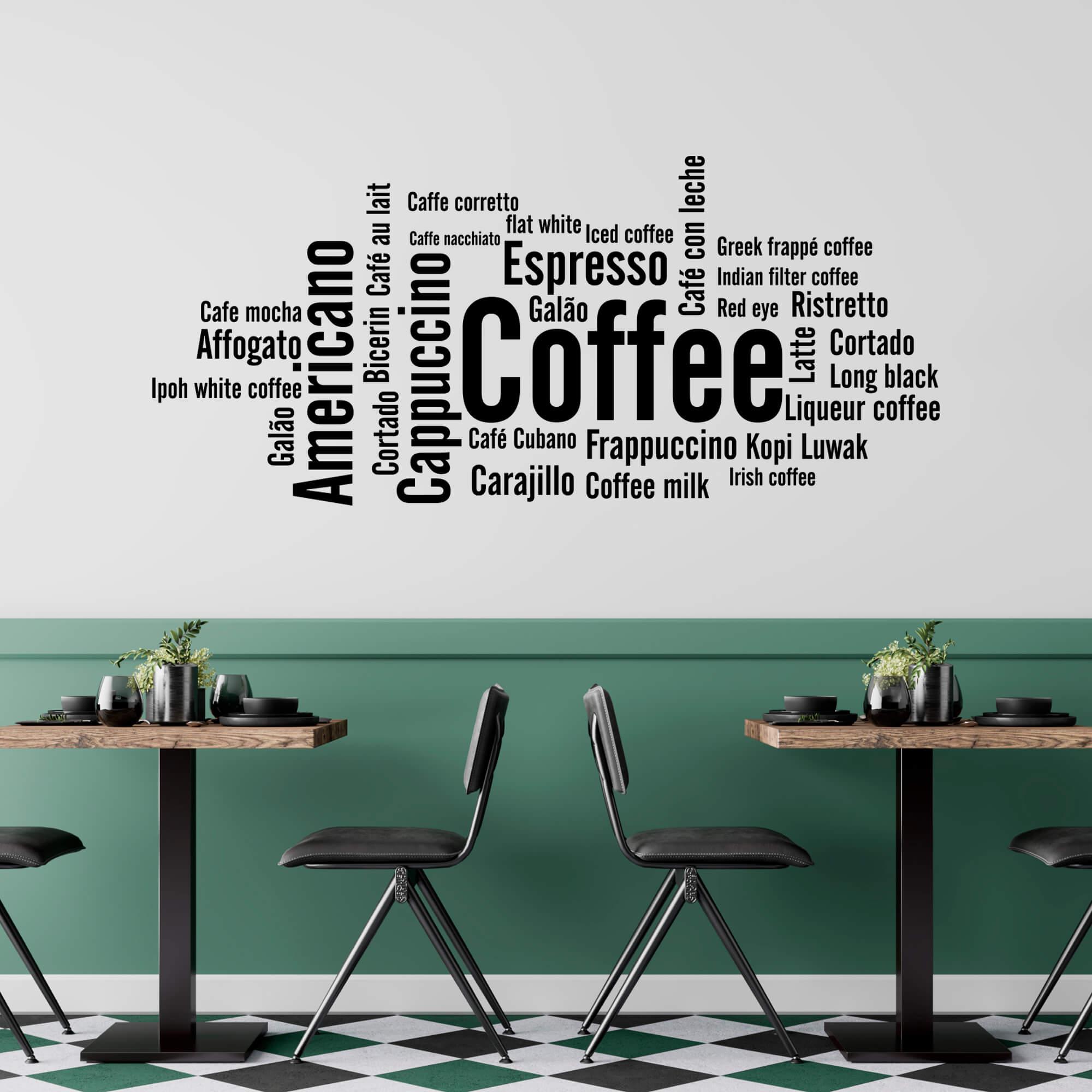 Adesivo de Parede Tipos de Café Idiomas Cafeteria Cozinha Gourmet Padaria