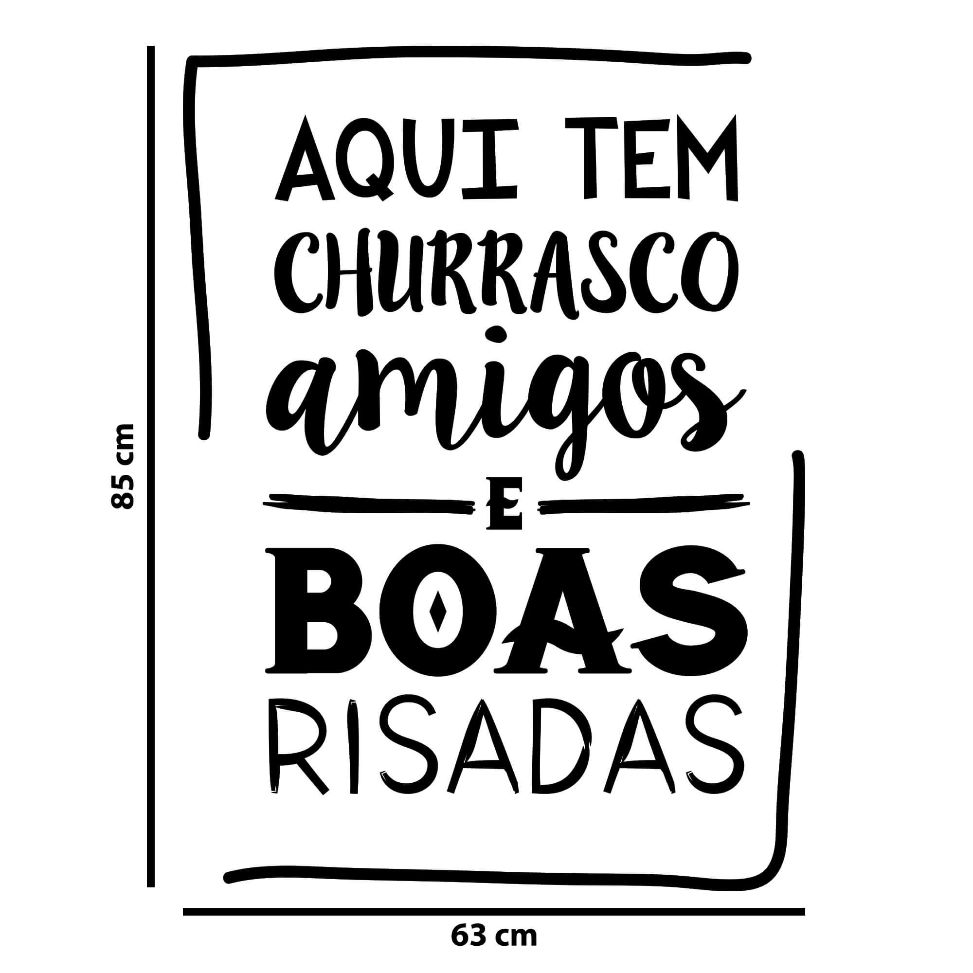 Adesivo Decorativo de Parede Churrasco, Amigos e Boas Risadas
