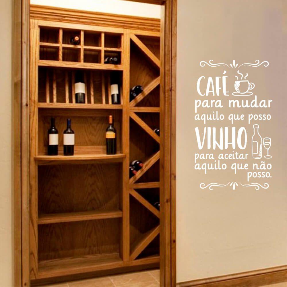 Adesivo Decorativo de Parede Frase Café e Vinho