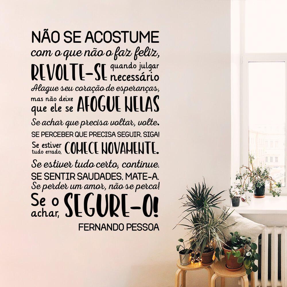 Adesivo Decorativo de Parede Frase Fernando Pessoa