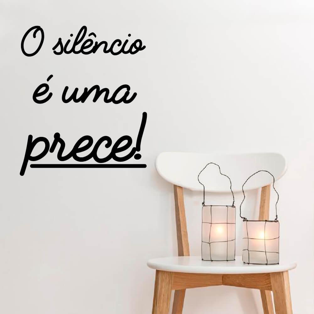 Adesivo Decorativo de Parede Frase O Silêncio é uma Prece