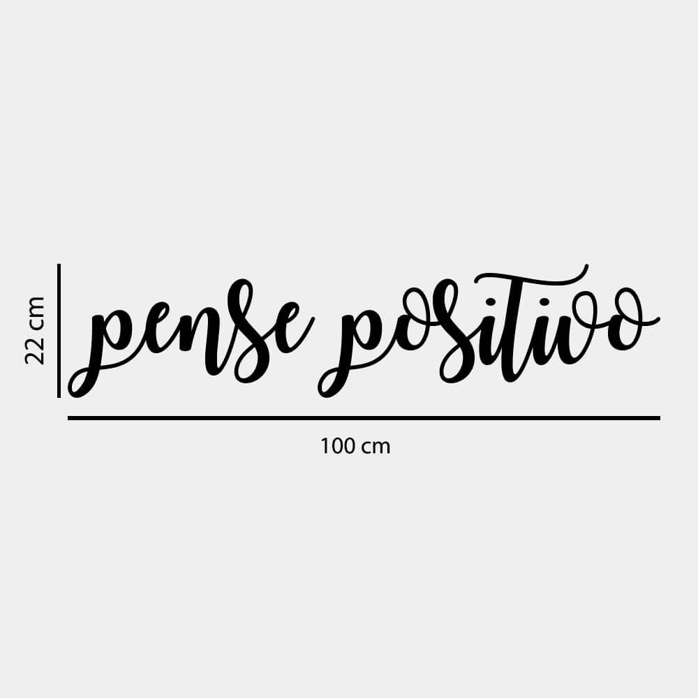 Adesivo Decorativo de Parede Frase Pense Positivo Letra Cursiva