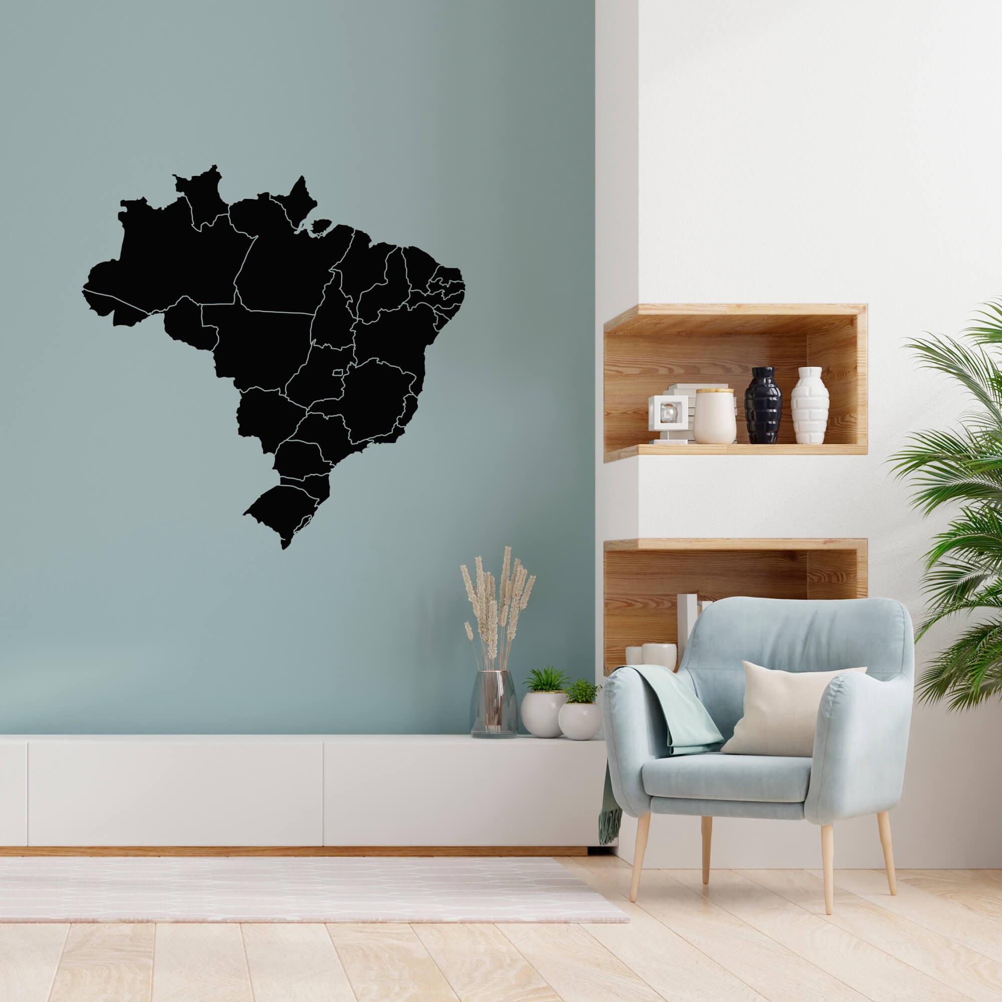Adesivo Decorativo de Parede Mapa do Brasil Estados