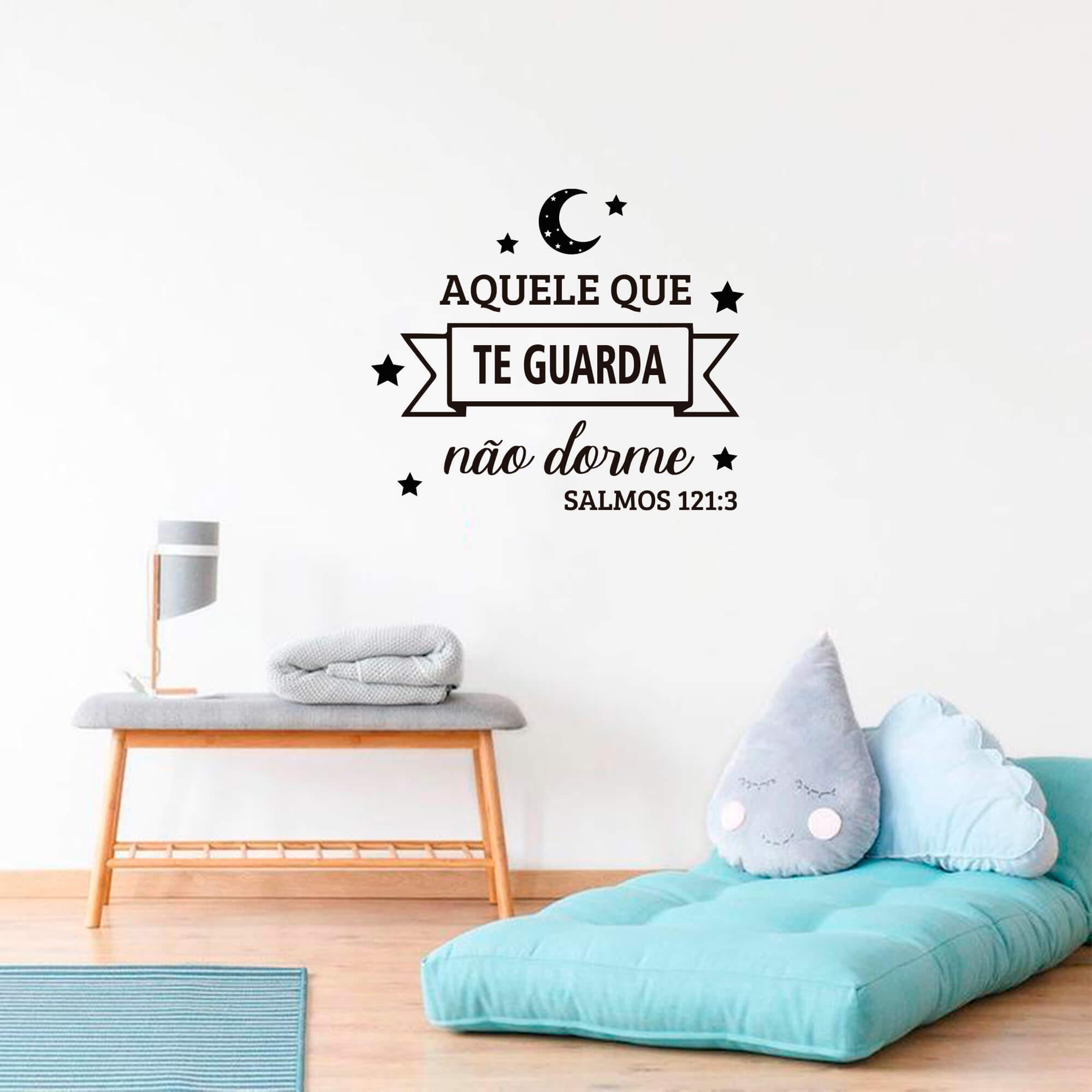 Adesivo Decorativo de Parede Salmos 121:3 Aquele que Te Guarda Não Dorme