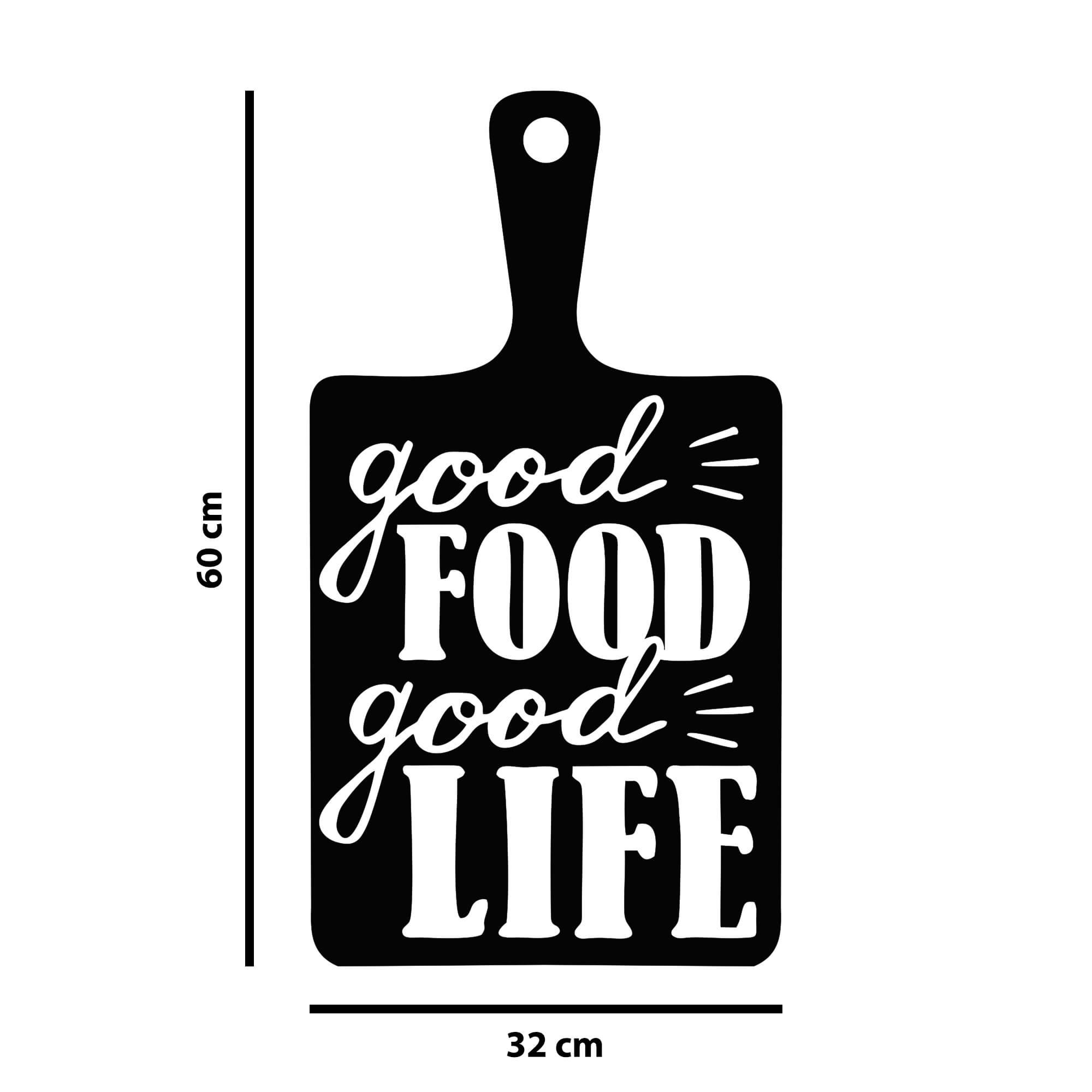 Adesivo Decorativo de Parede Taboa de Carnes Good Food Good Life