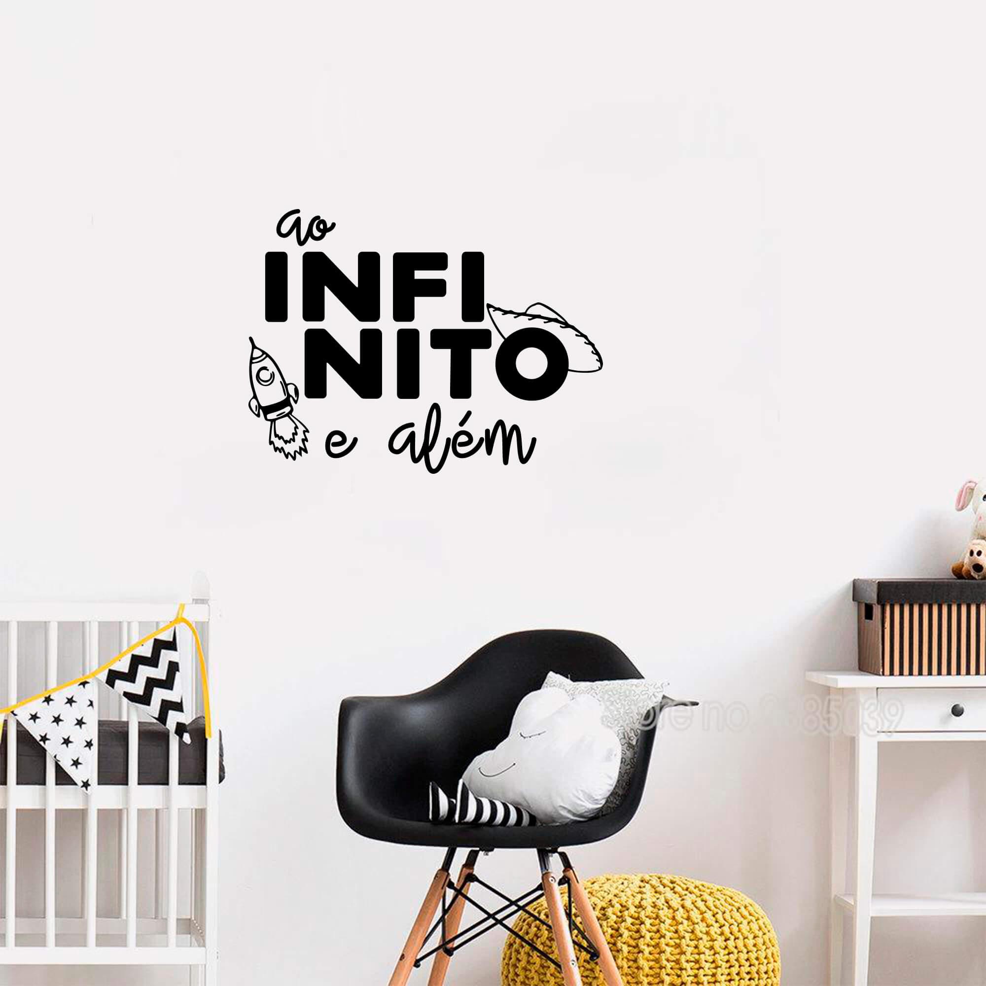 Adesivo Decorativo Frase Ao Infinito e Além Decoração Quarto Infantil