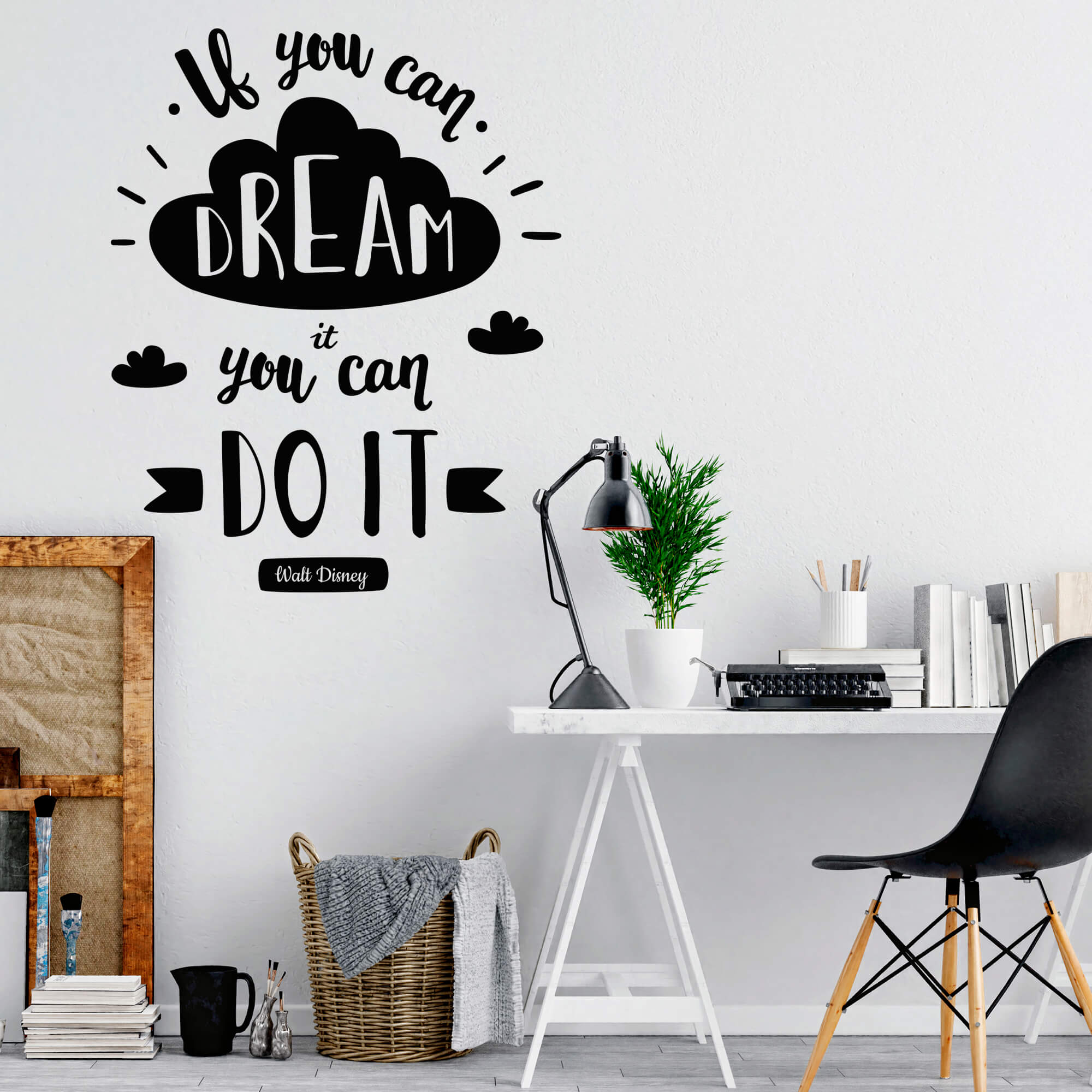 """Adesivo Decorativo Frase Inglês """"Se você pode sonhar, você pode realizar"""" Walt Disney"""