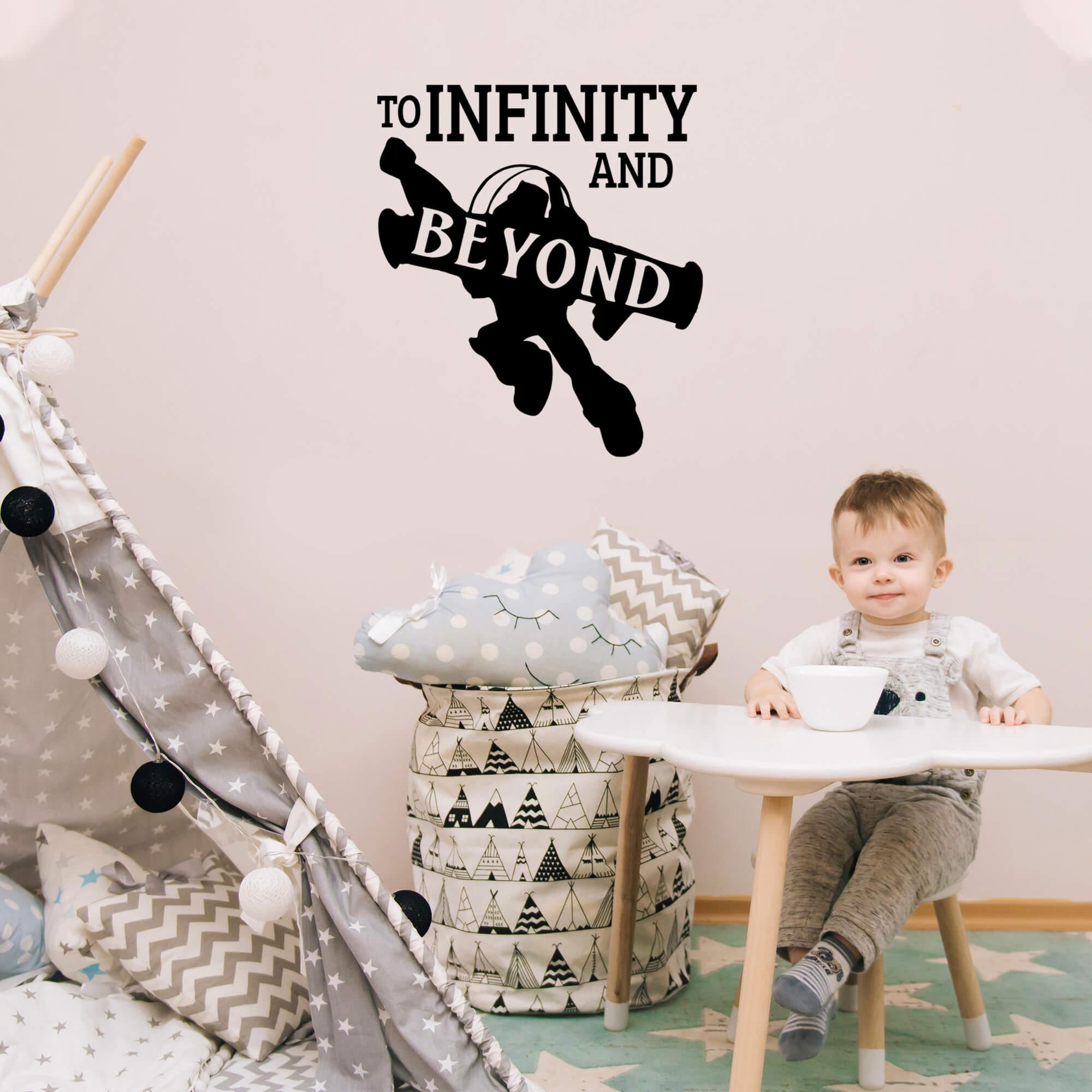 Adesivo Decorativo Frase Inglês To Infinity and Beyond - Ao Infinito e Além Decoração Quarto Infantil