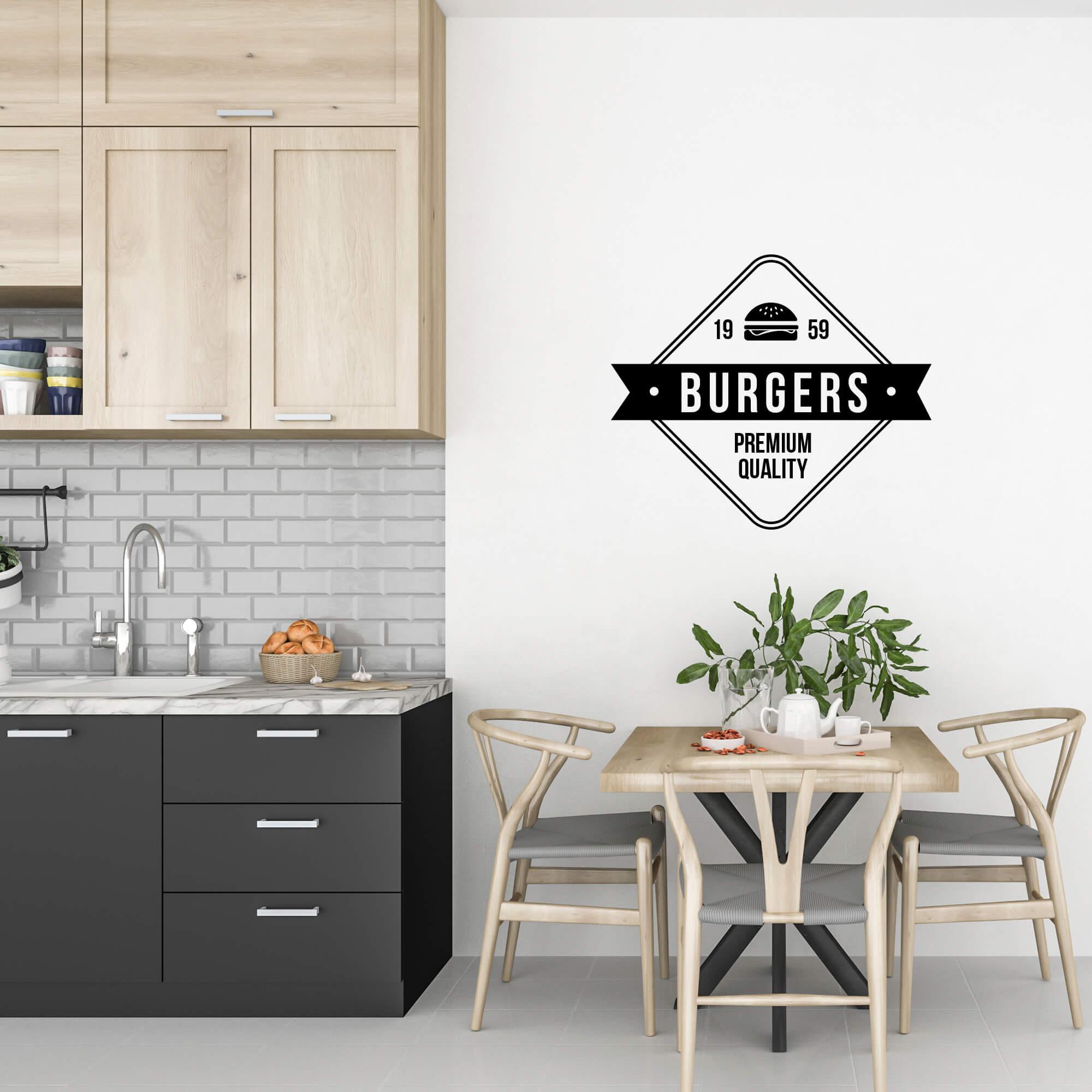 Adesivo Decorativo Logo Hamburgueria Retrô Cozinha Gourmet Preto
