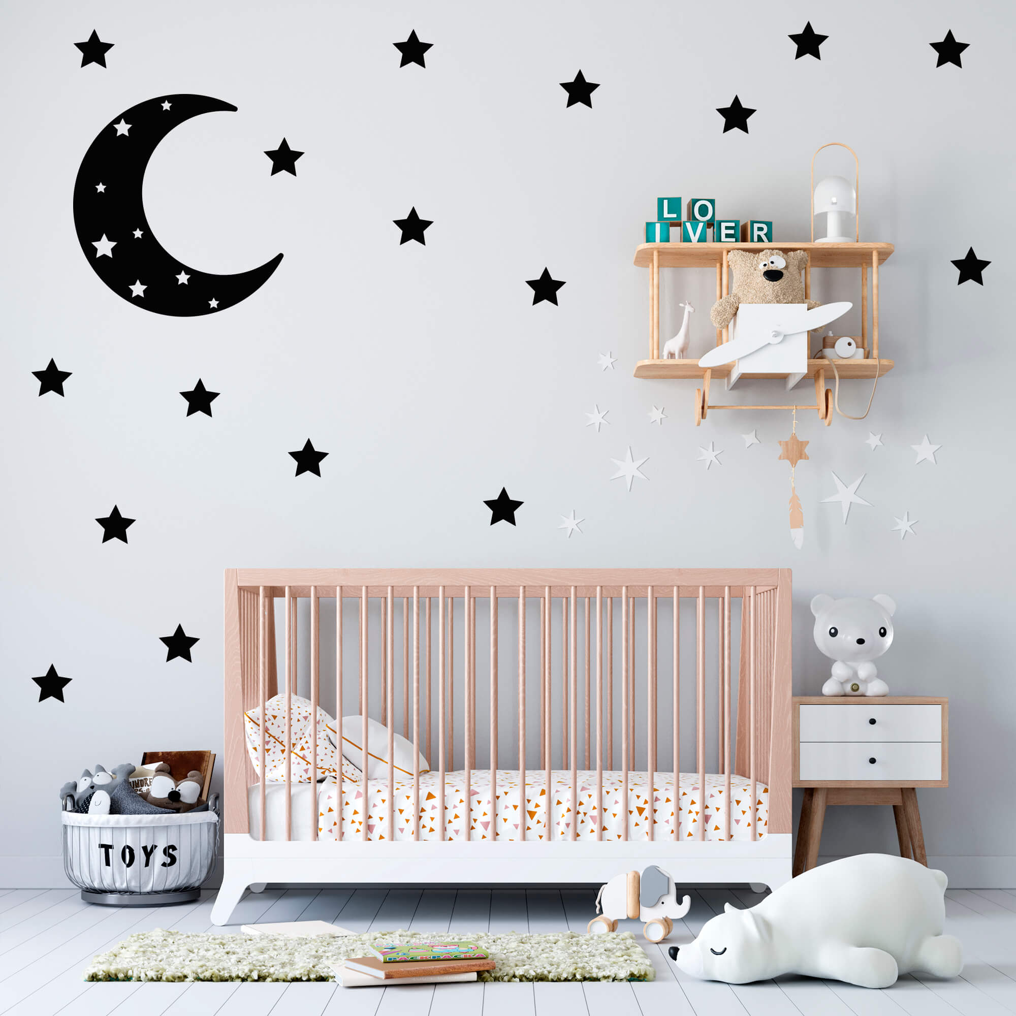 Adesivo Decorativo Lua e Estrelas Quarto Infantil