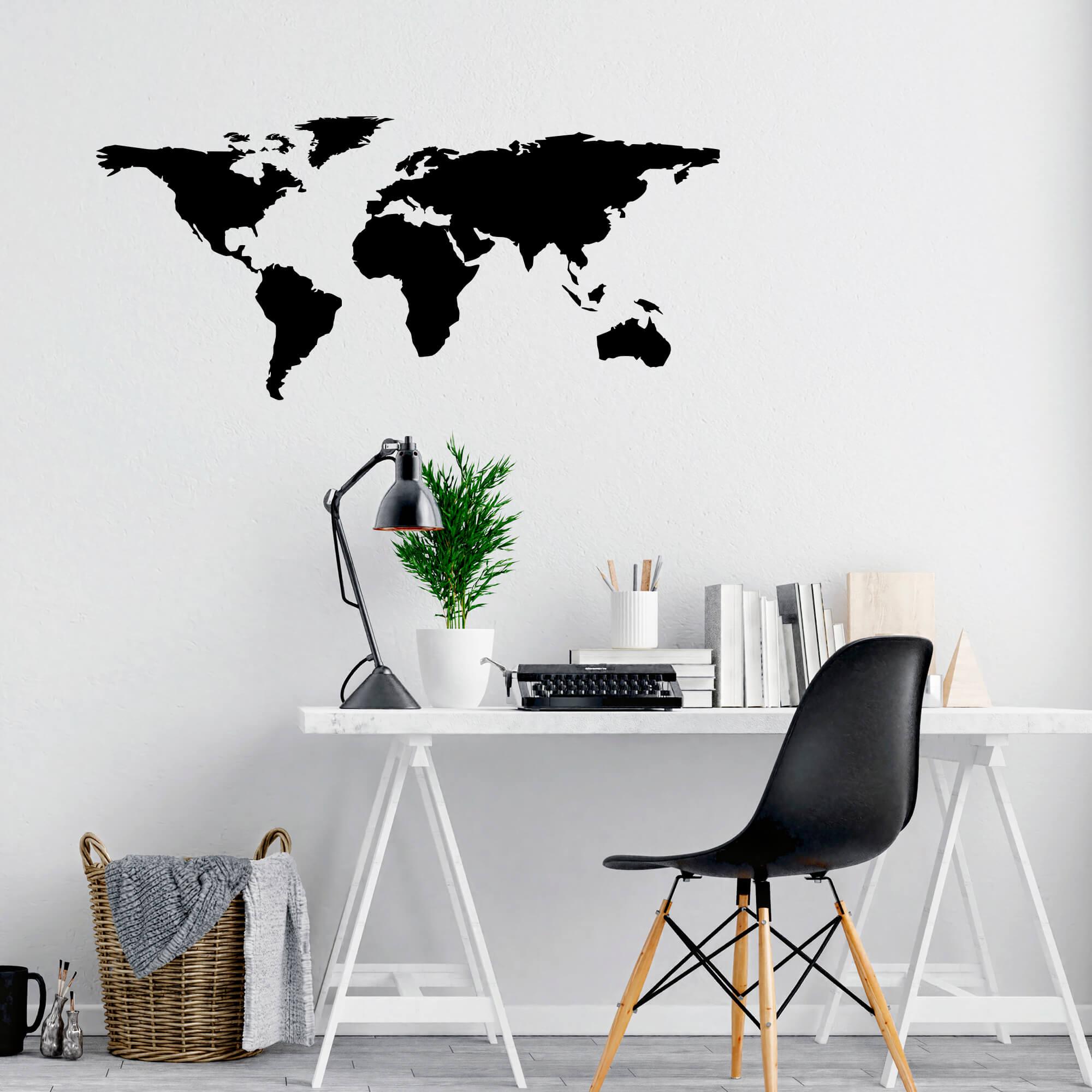 Adesivo de Parede Mapa Mundi Decoração Ambientes Sala Quarto Escritório