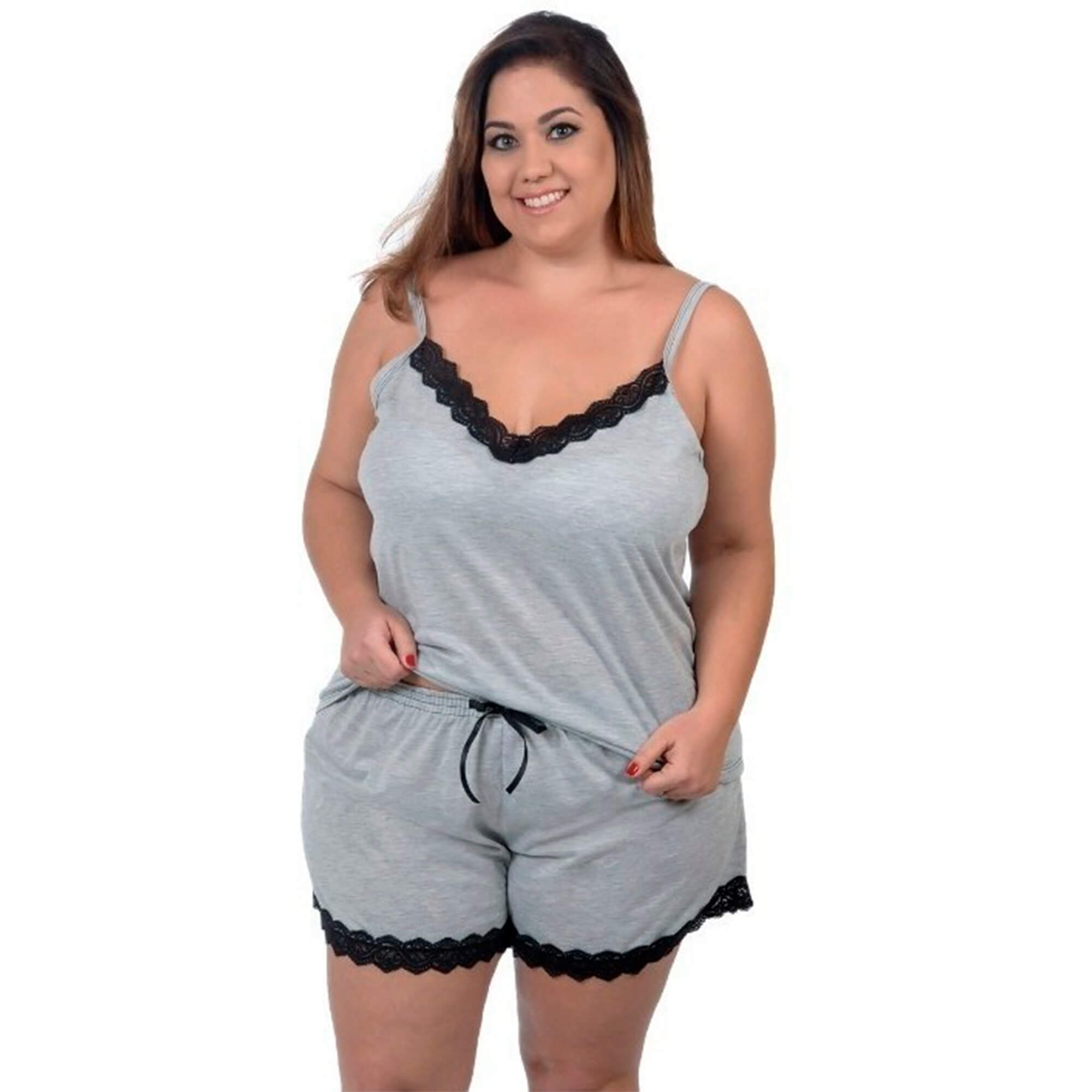 Baby Doll / Short Doll Alça Feminino Plus Size Com Renda Decote V