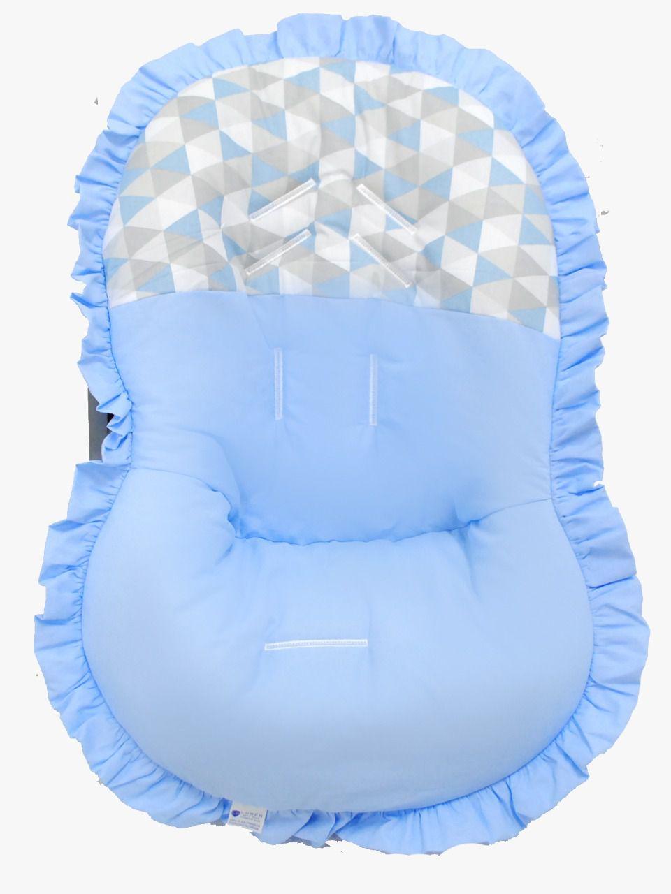 Capa Para Bebê Conforto Azul Geométrico 100% Algodão