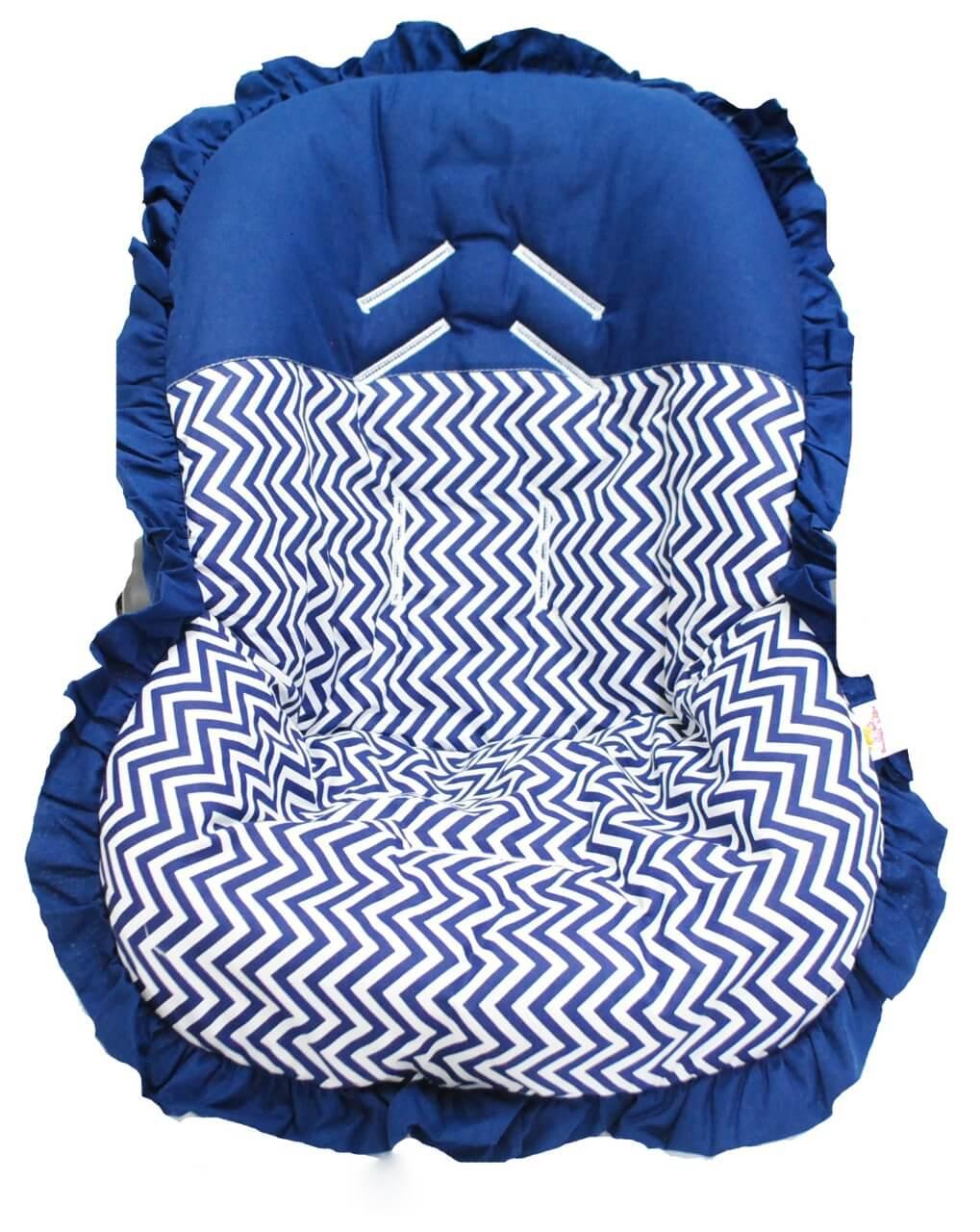Capa Para Bebê Conforto Chevron Marinho 100% Algodão