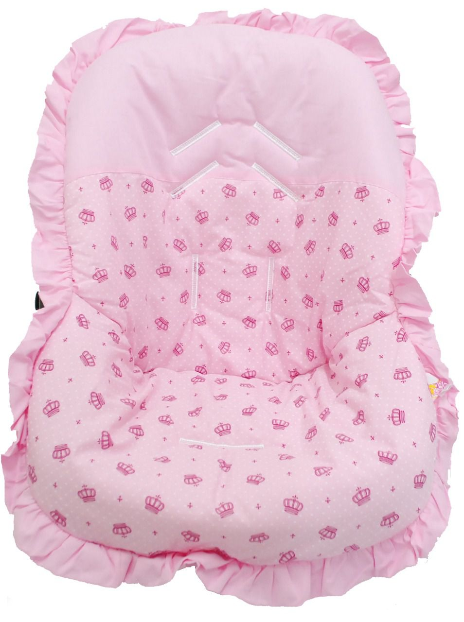 Capa Para Bebê Conforto Coroa Rosa 100% Algodão