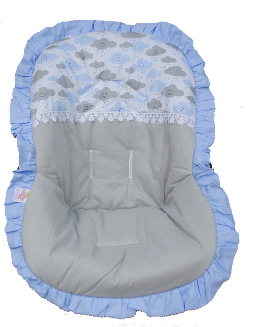 Capa Para Bebê Conforto Nuvens Azul e Cinza 100% Algodão