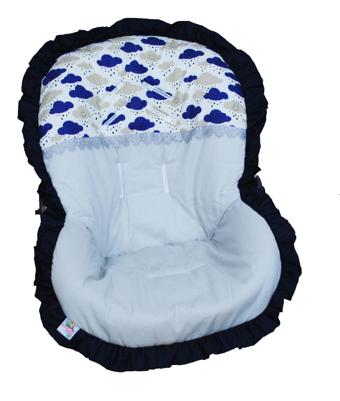 Capa Para Bebê Conforto Nuvens Cinza e Marinho 100% Algodão