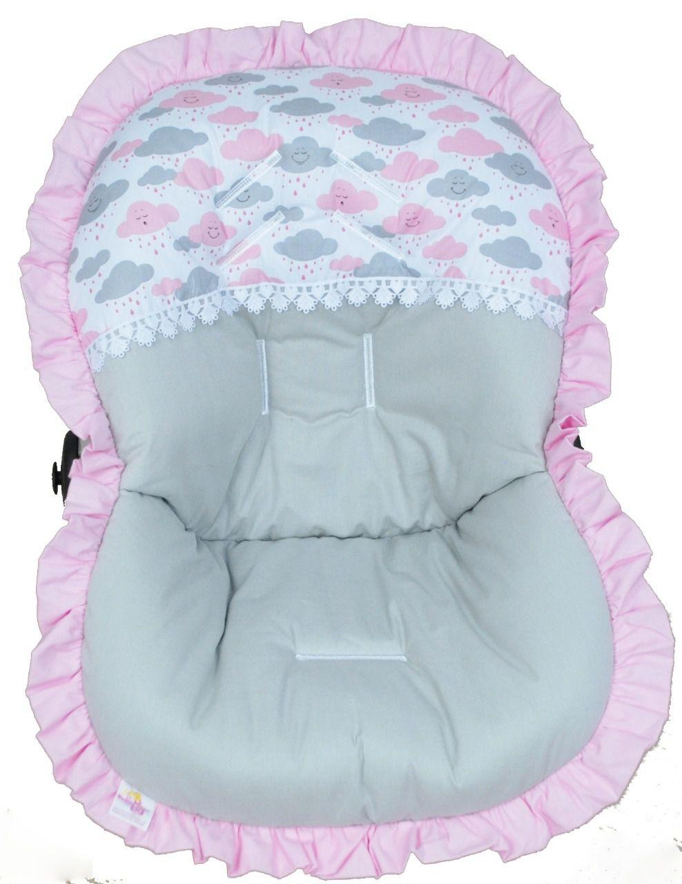 Capa Para Bebê Conforto Nuvens Rosa e Cinza 100% Algodão