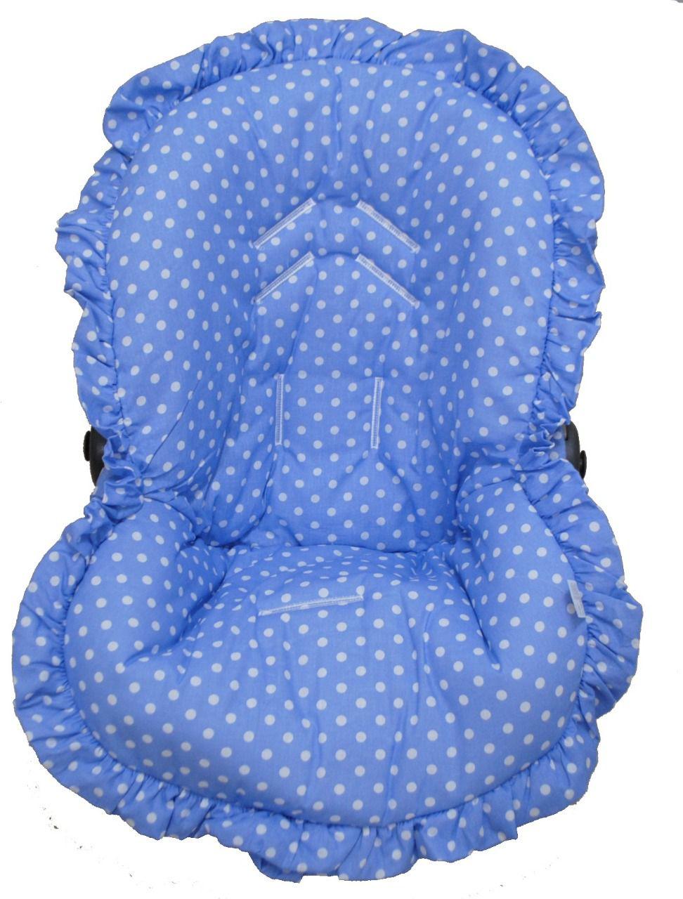 Capa Para Bebê Conforto Poá Azul 100% Algodão
