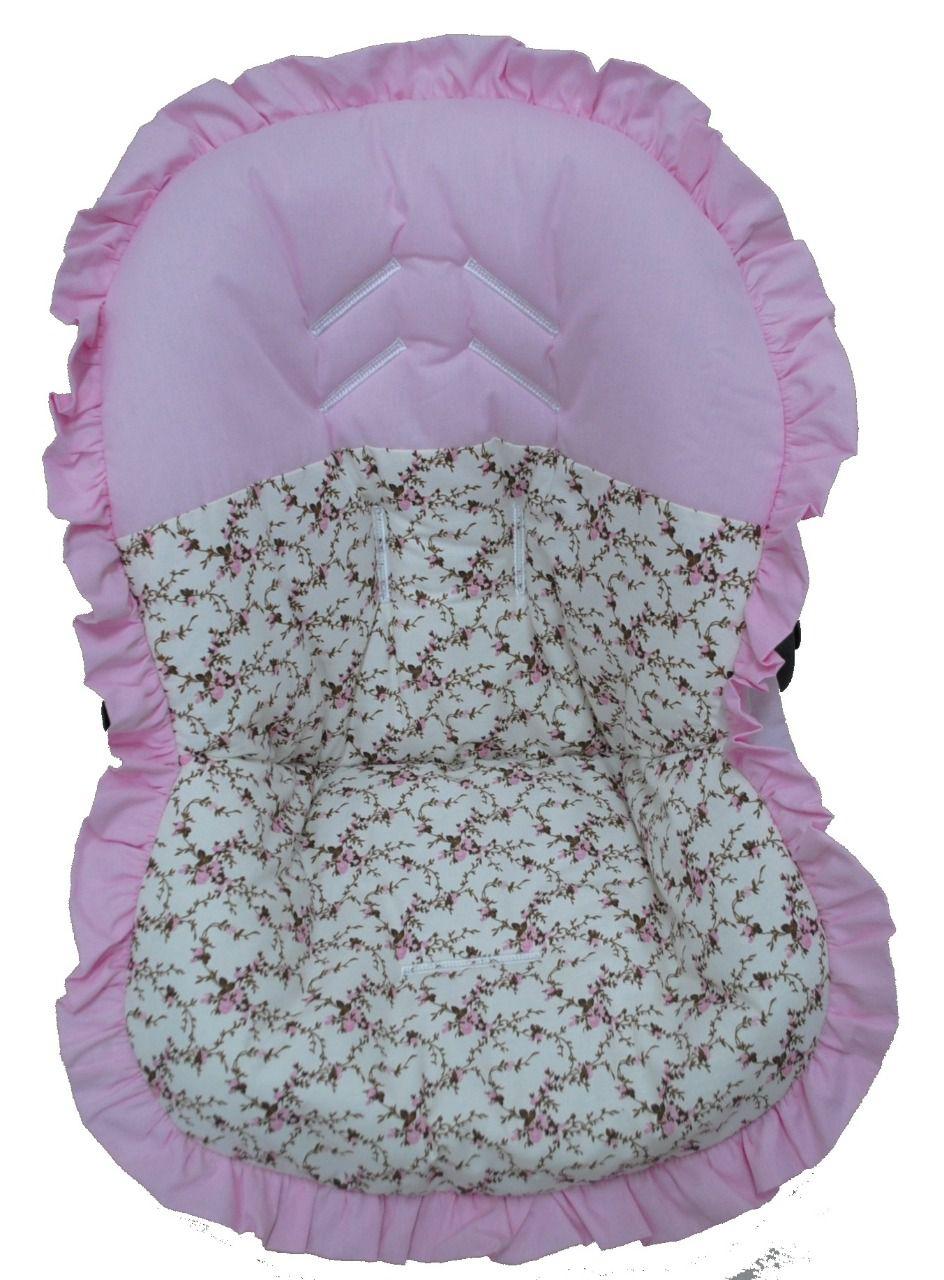 Capa Para Bebê Conforto Rosa e Floral 100% Algodão