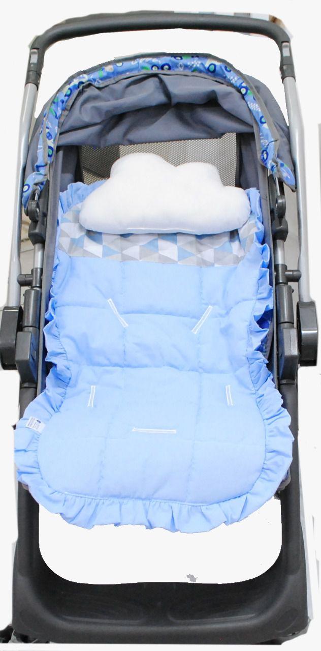 Capa Protetora para Carrinho Azul Geométrico 100% Algodão