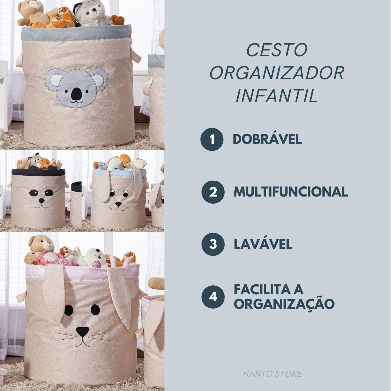 Cesto Organizador de Brinquedos e Roupas Sujas Grande Coelho com Alças
