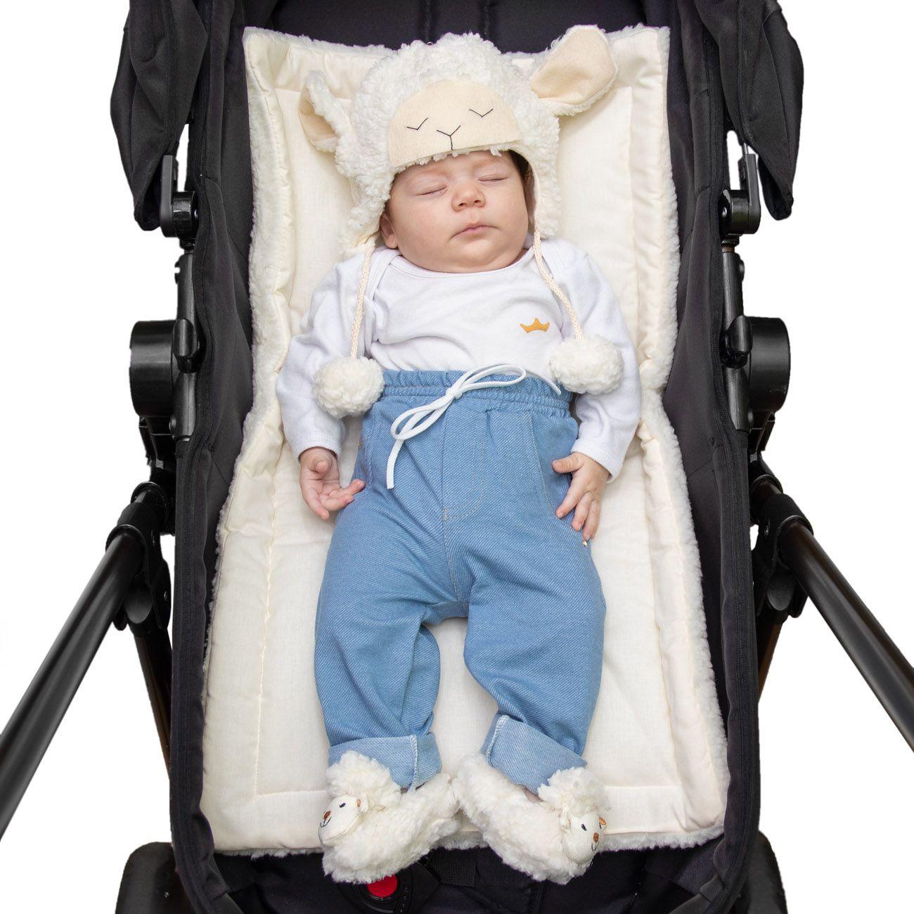 Colchonete Acolchoado para Carrinho e Bebê Conforto 2 em 1 Percal 180 Fios e Sherpa