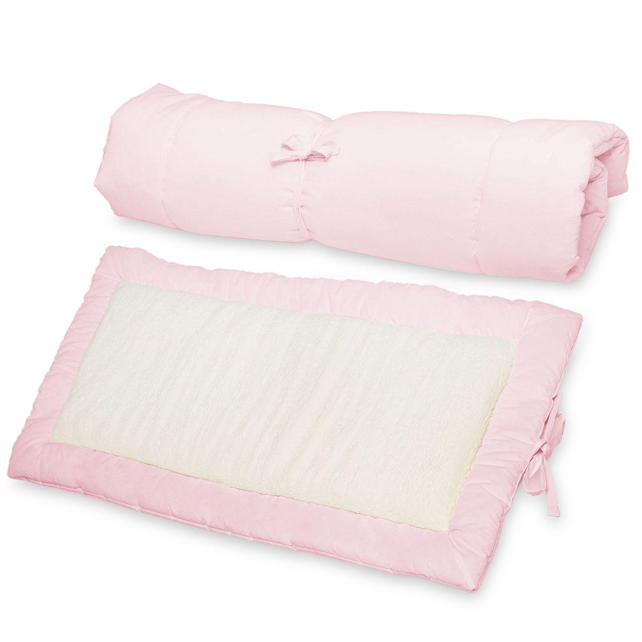 Colchonete Acolchoado Pillow Top Portetor para Colchão de Berço e Passeio Portátil 2 em 1 Percal 180 Fios e Sherpa