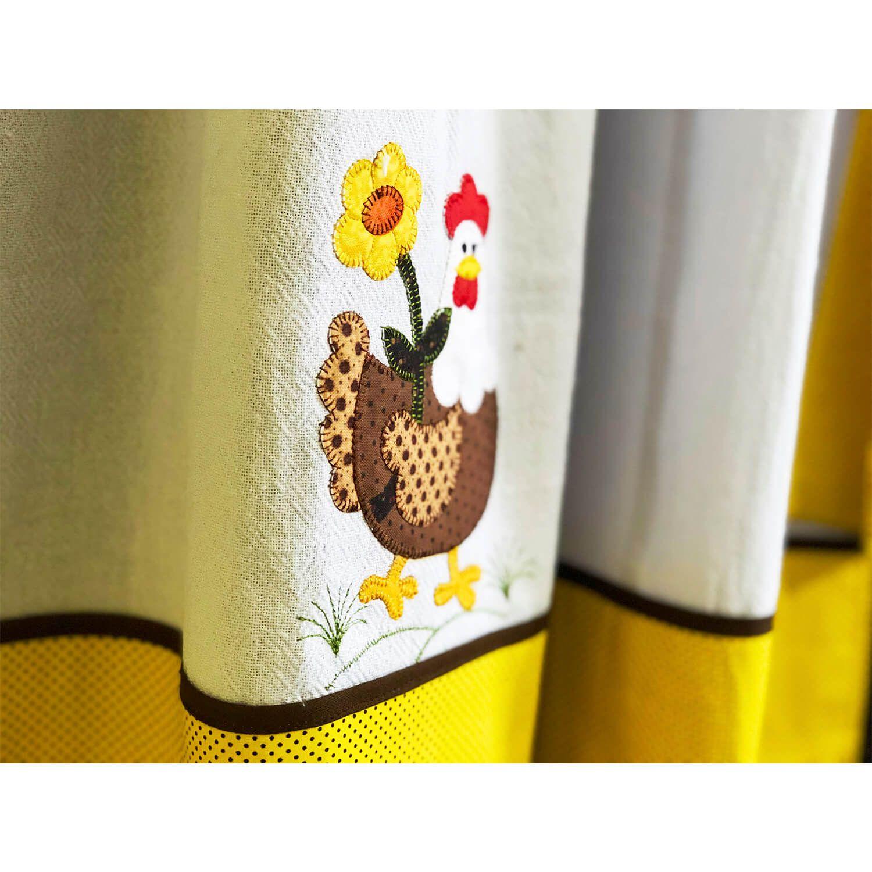 Cortina Cozinha Galinha Amarelo e Branco Patchwork