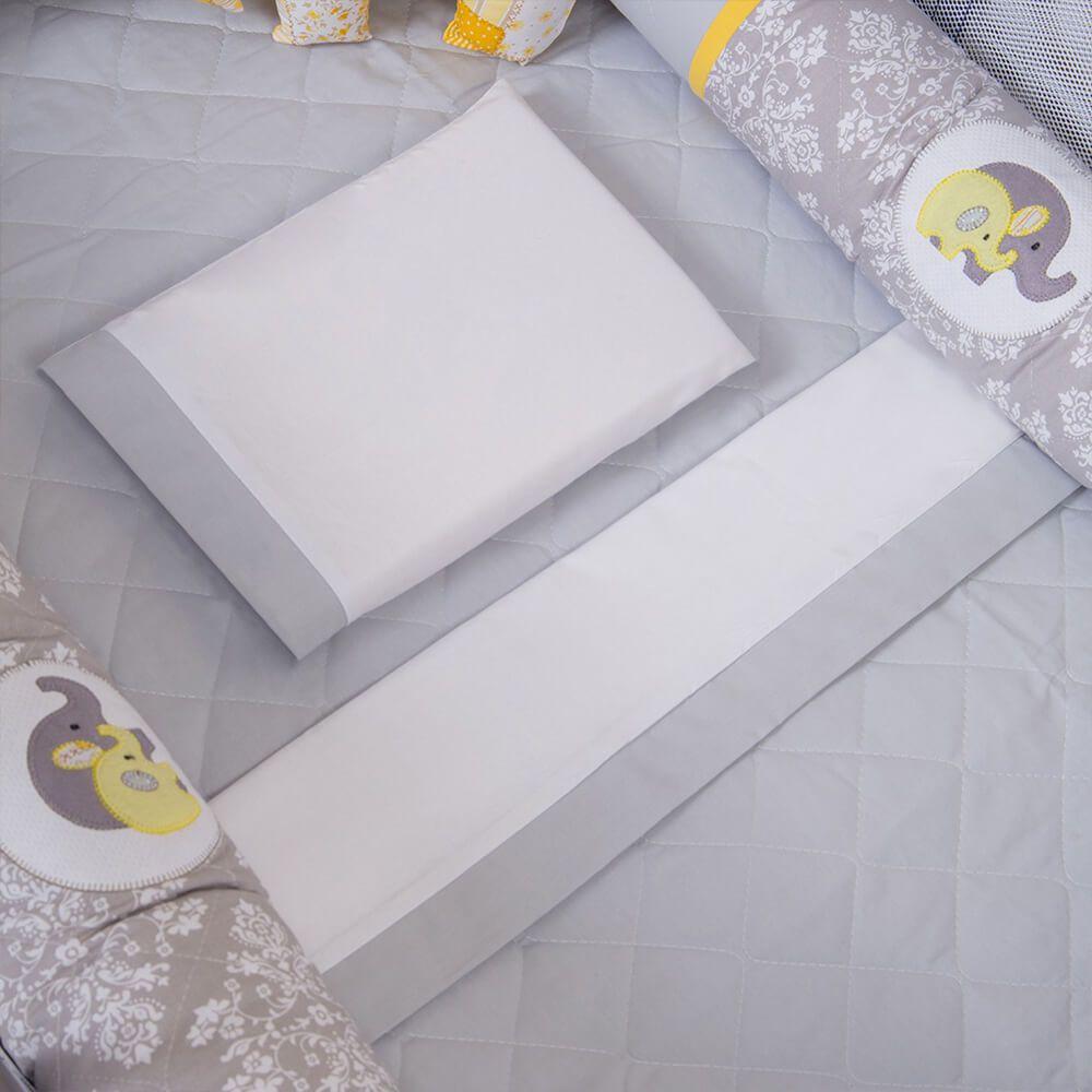 Enxoval Para Berço Desmontável Coleção Elefantinho Cinza e Amarelo