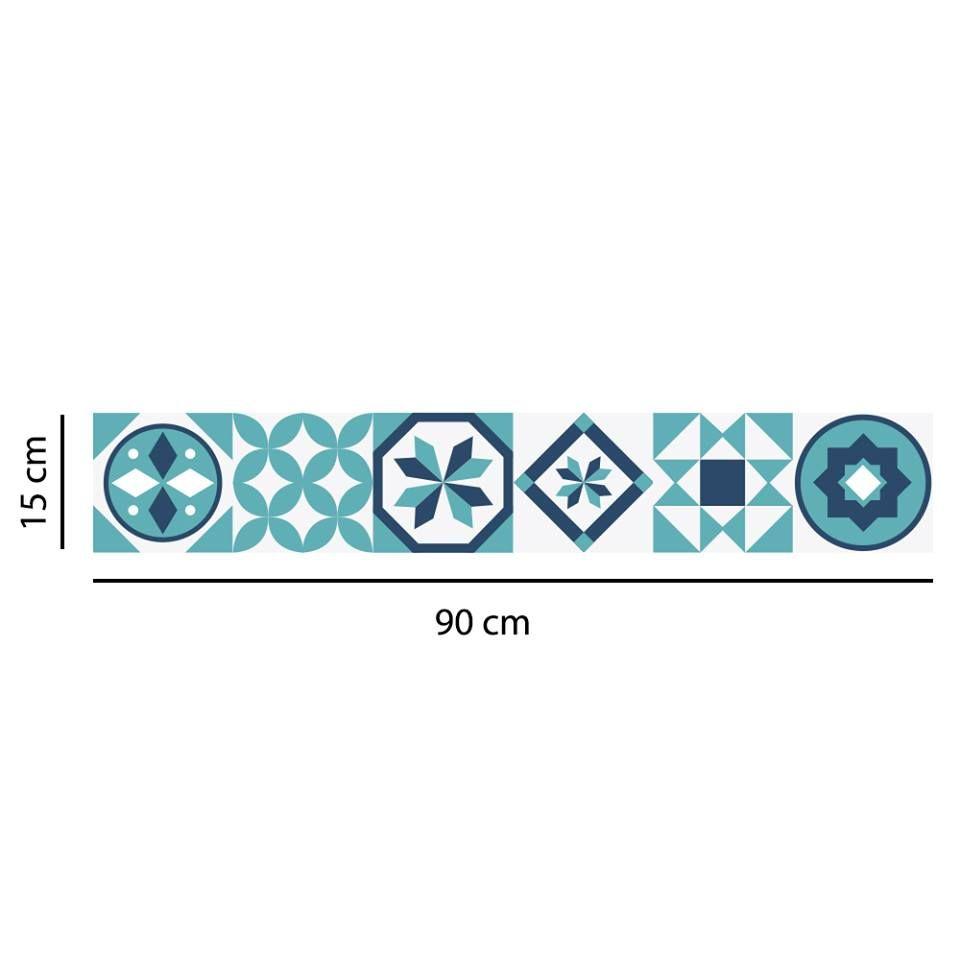 Faixa border adesivo azulejos hidráulicos azul